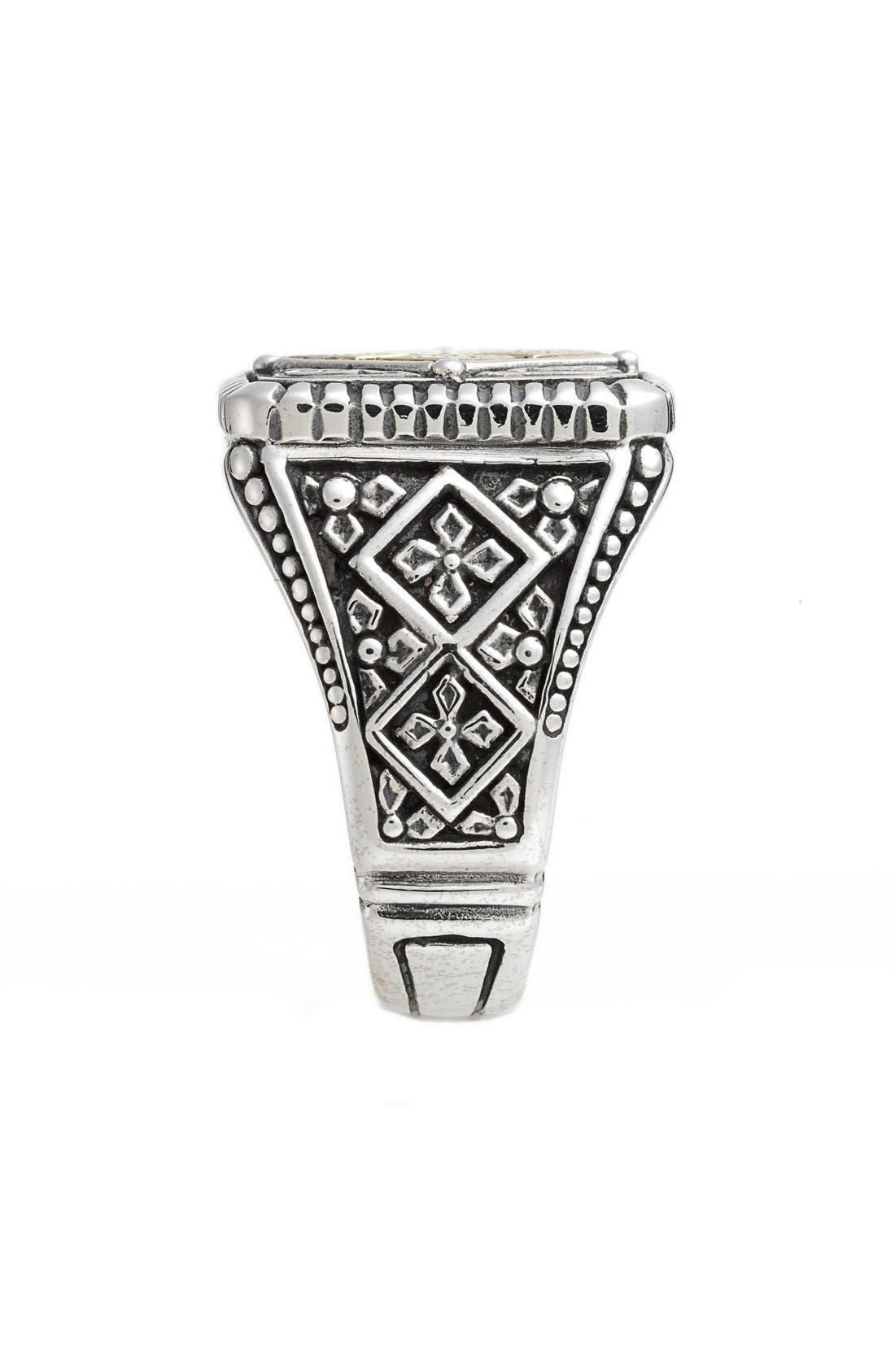 Silver & Gold Classics Square Ring,                             Alternate thumbnail 2, color,                             SILVER