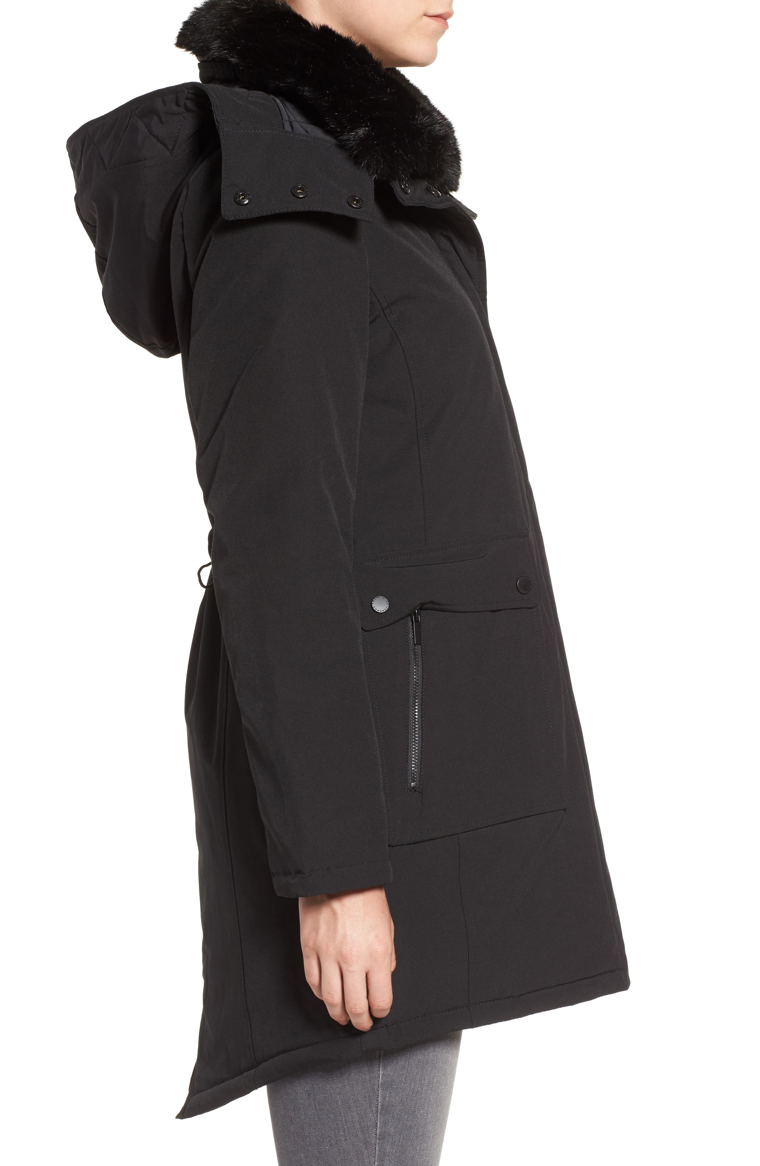 Hooded Anorak with Detachable Faux Fur Collar,                             Alternate thumbnail 3, color,                             001
