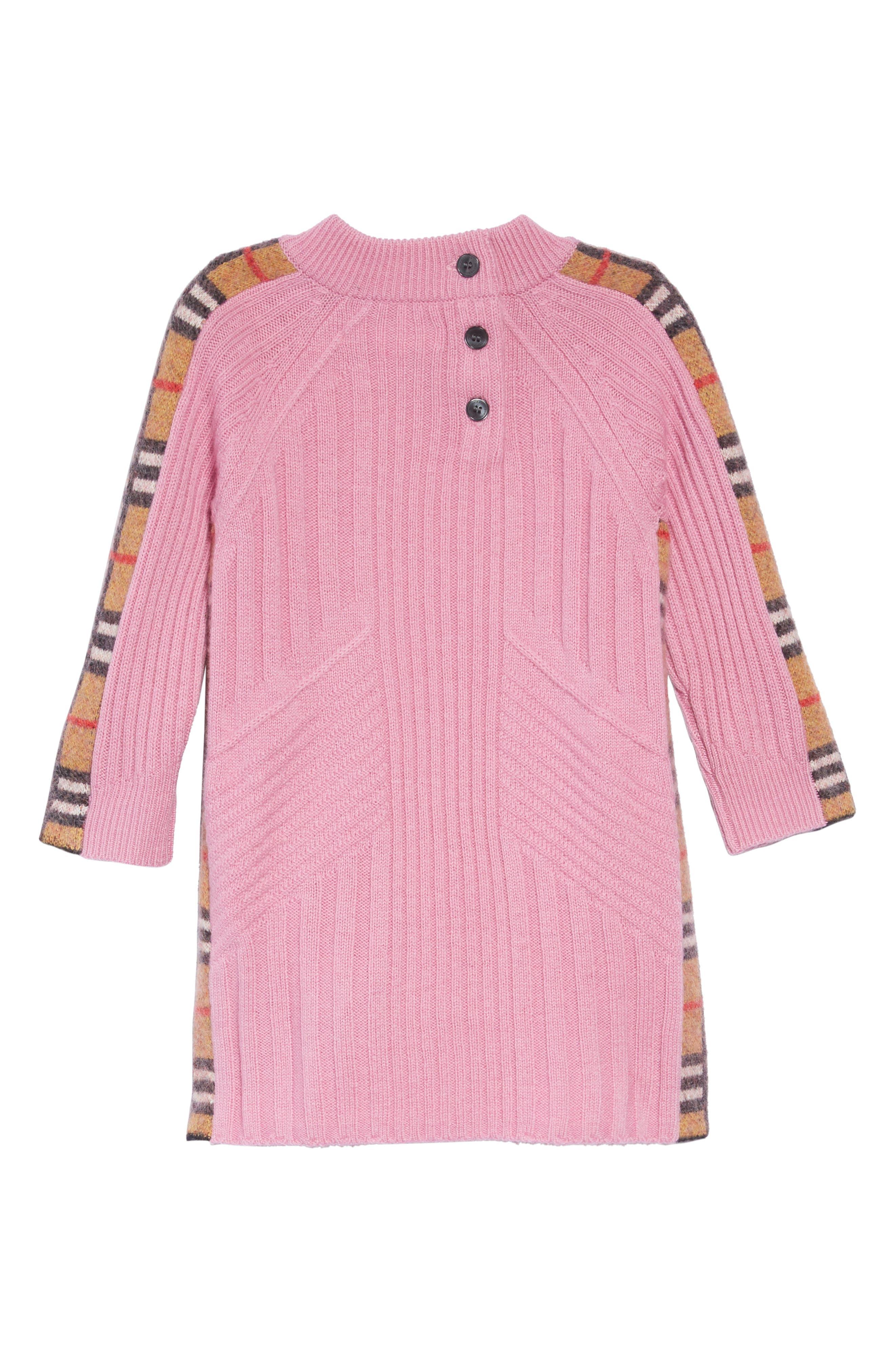 Kids Mini Cathina Check Detail Wool & Cashmere Sweater Dress,                             Alternate thumbnail 2, color,                             ROSE PINK