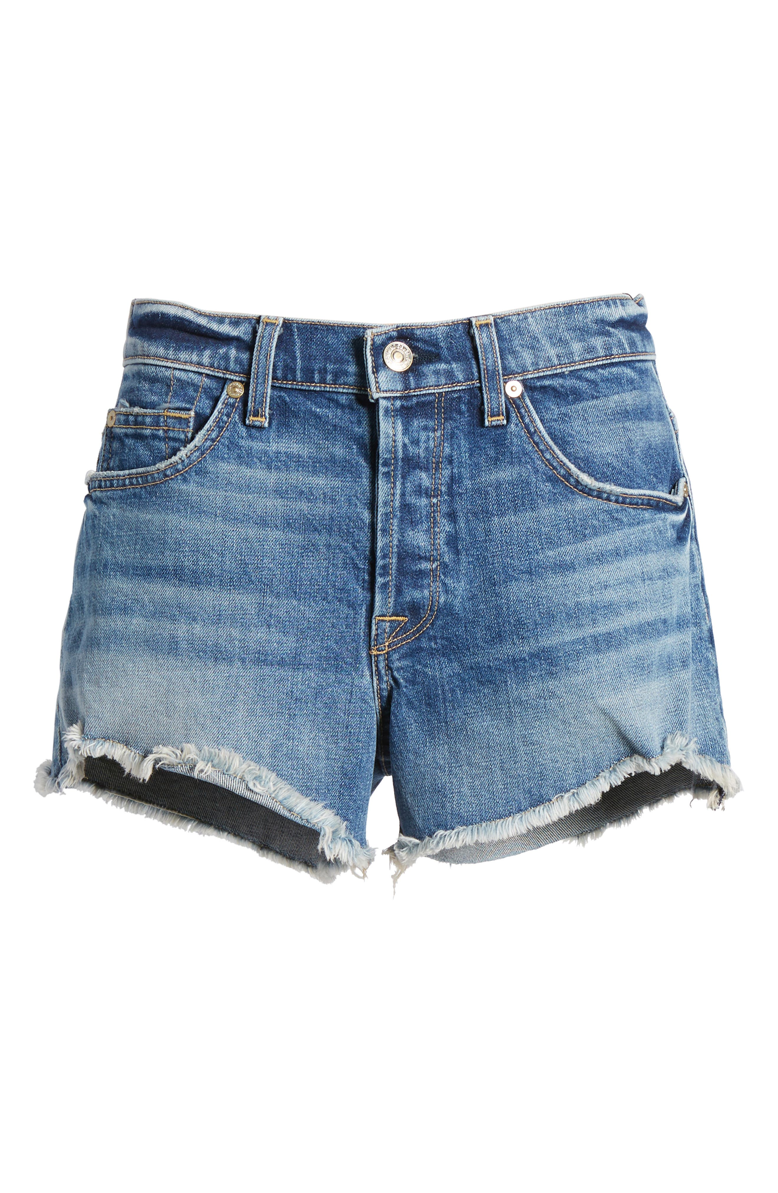 High Waist Cutoff Wave Hem Denim Shorts,                             Alternate thumbnail 7, color,                             400