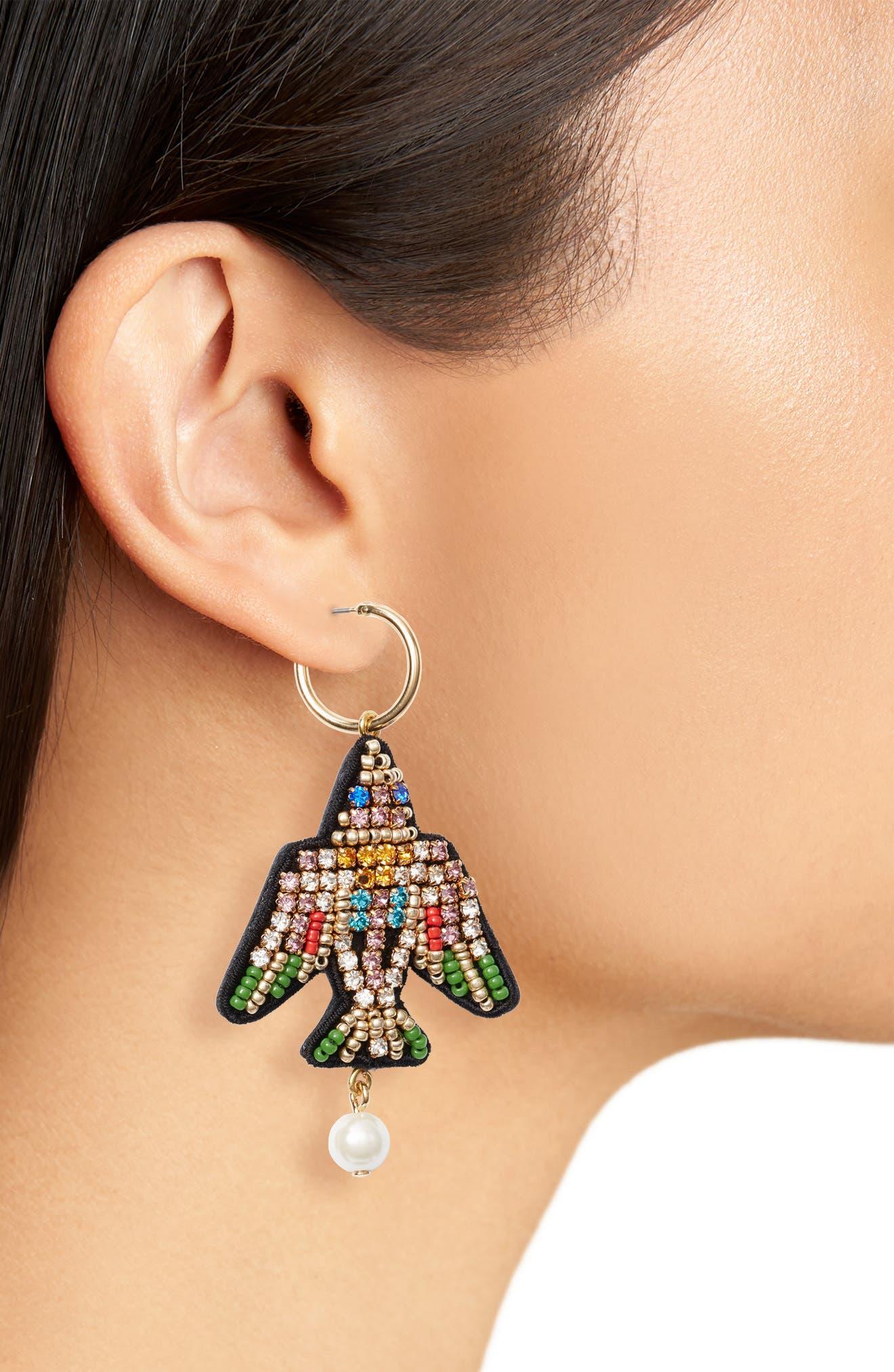 Leather-Backed Beaded Bird Earrings,                             Alternate thumbnail 2, color,                             GREEN MULTI