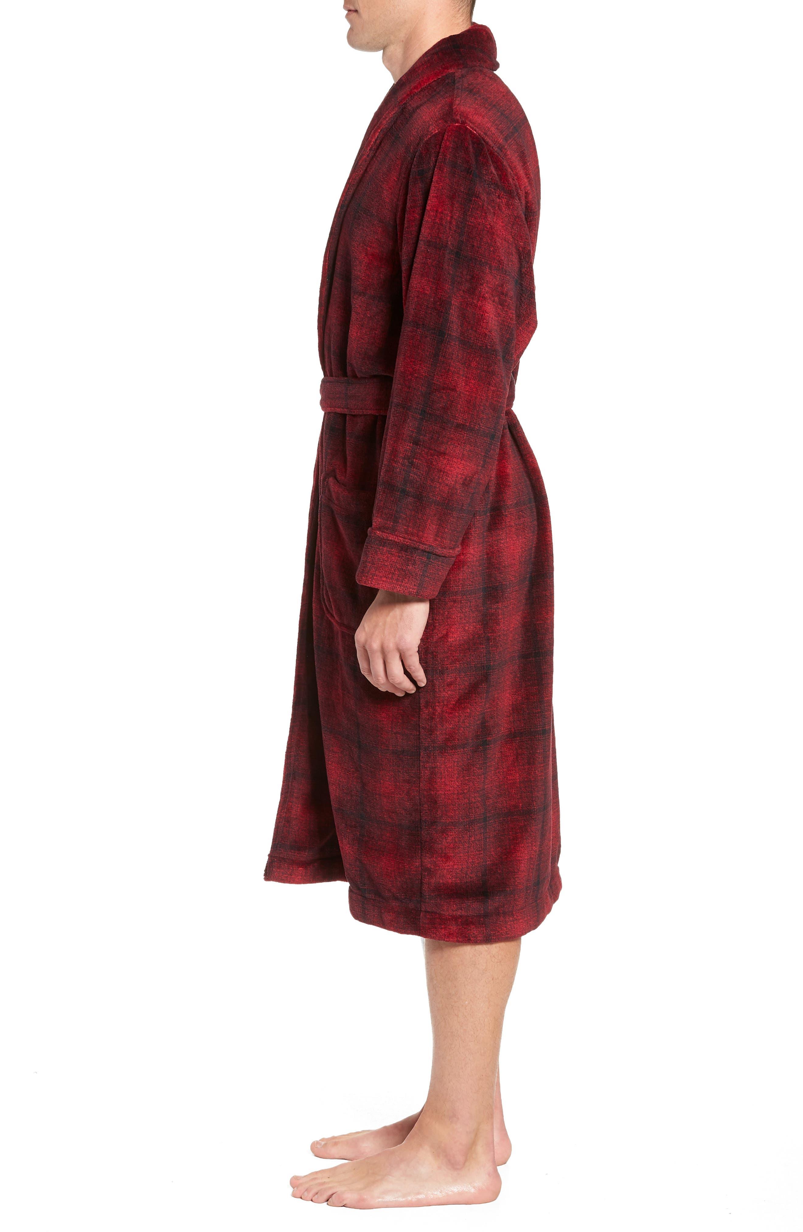 Ombré Plaid Fleece Robe,                             Alternate thumbnail 3, color,                             RED JESTER- BLACK OMBRE PLAID