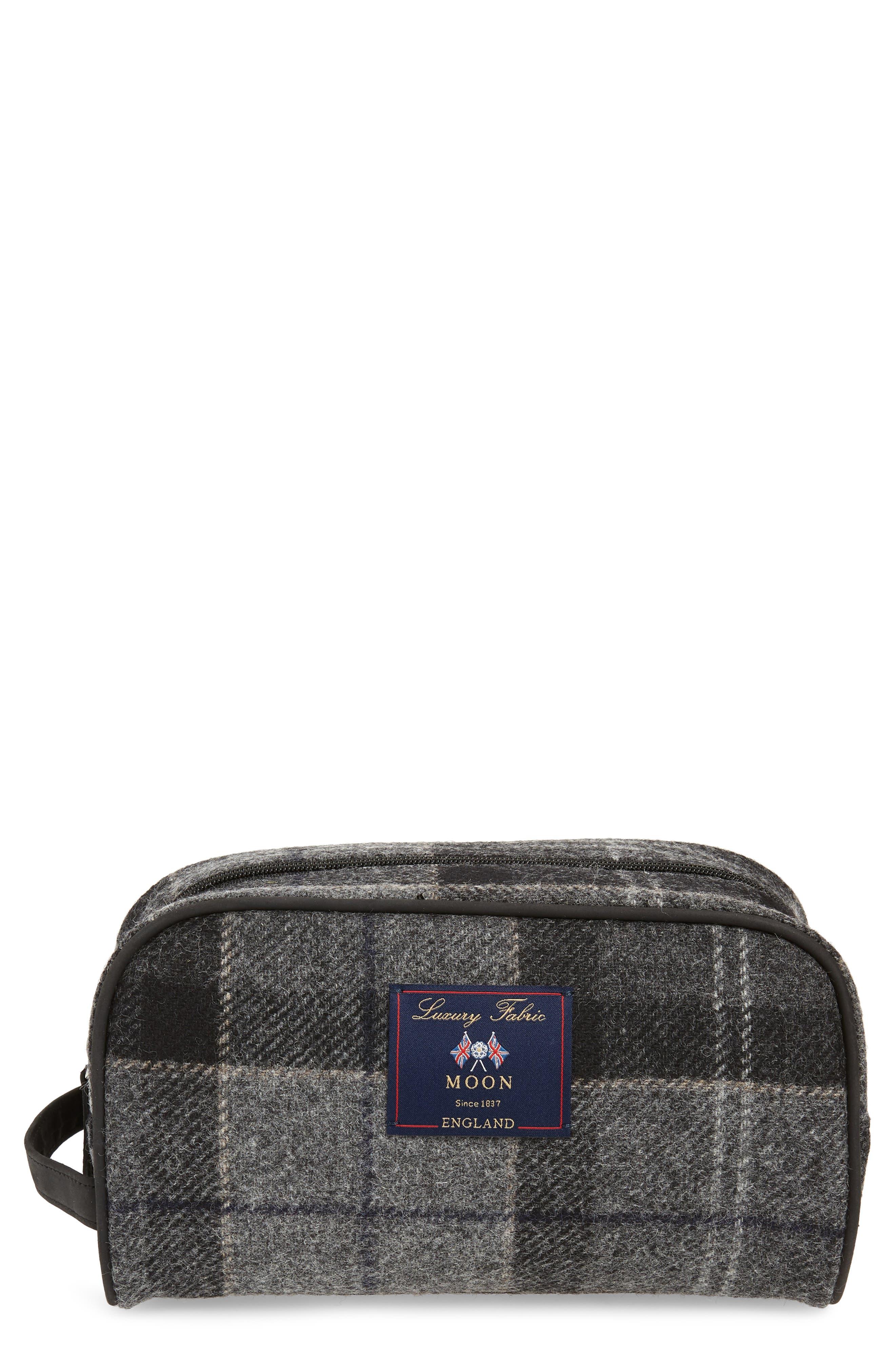 Shadow Tartan Wool Travel Kit,                             Main thumbnail 1, color,                             BLACK/ GREY TARTAN
