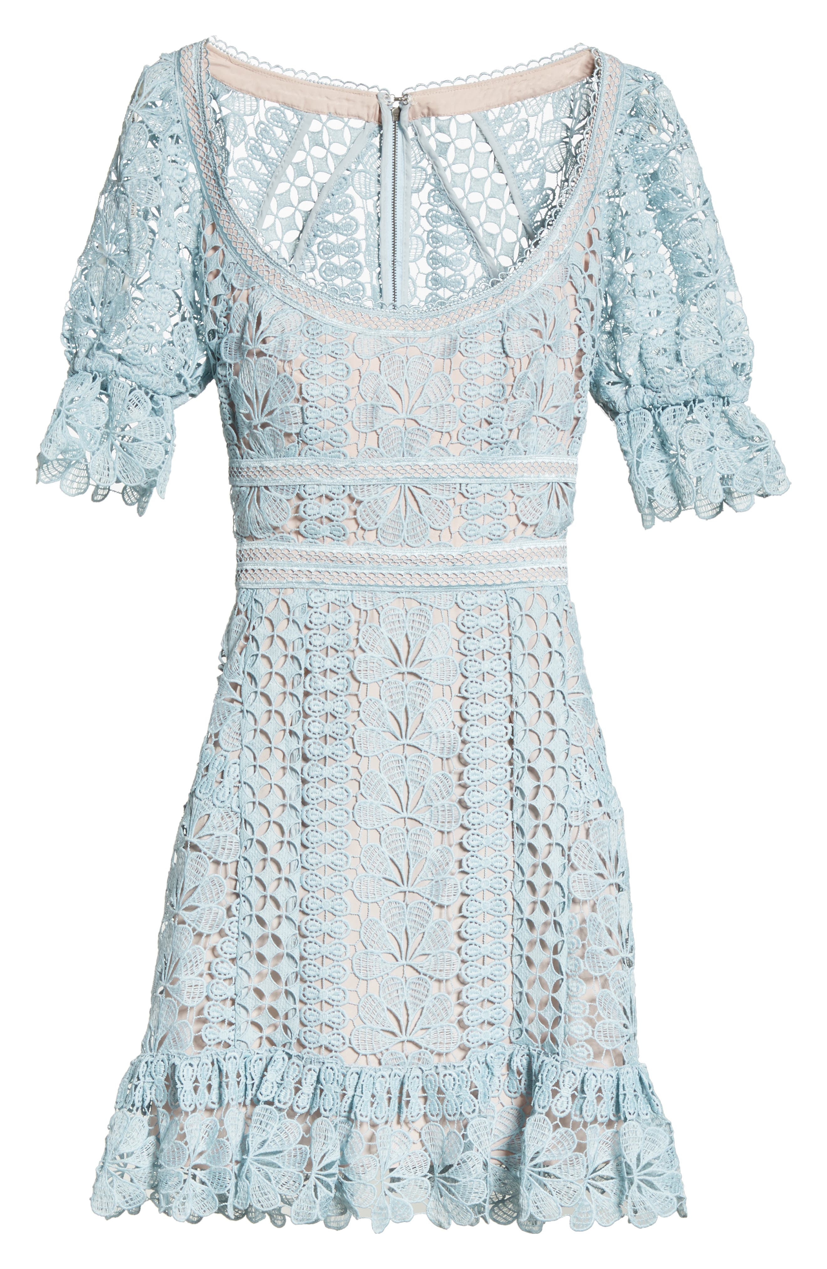 Puff Sleeve Guipure Lace Dress,                             Alternate thumbnail 6, color,