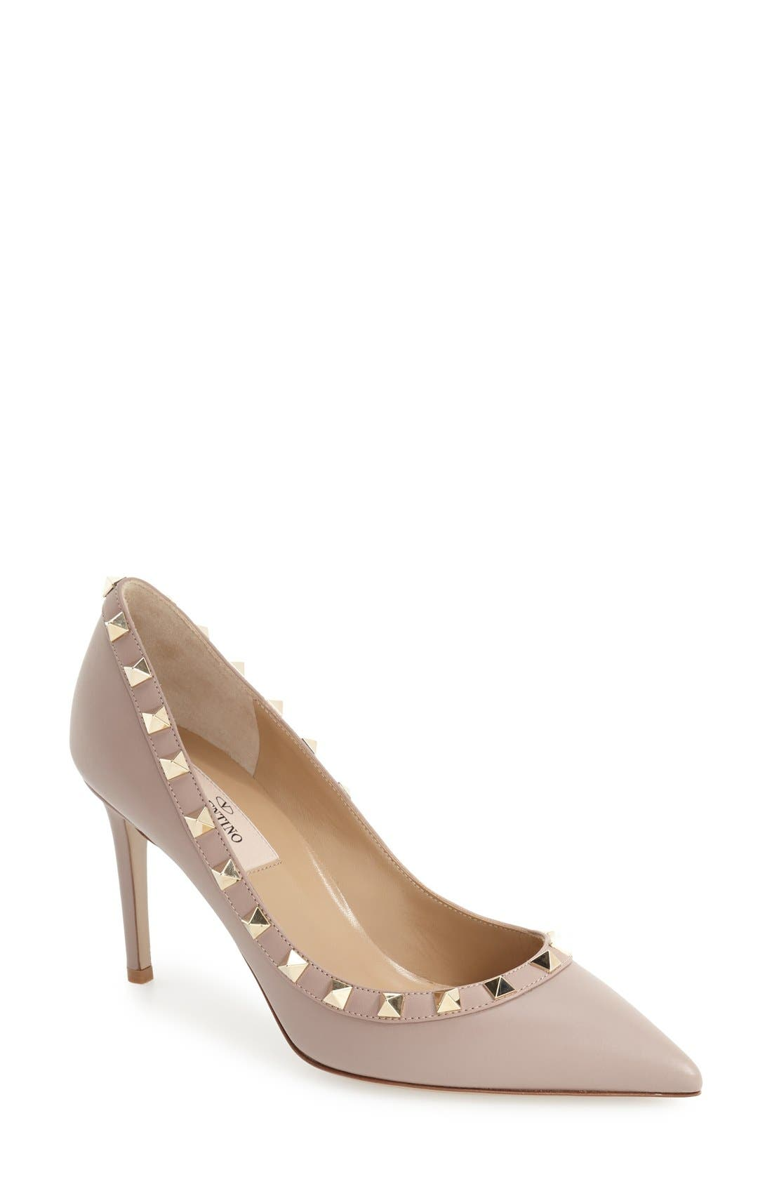 Rockstud Pointy Toe Pump,                             Main thumbnail 1, color,                             POUDRE LEATHER