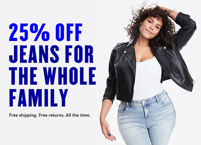25% off jeans for the whole family.