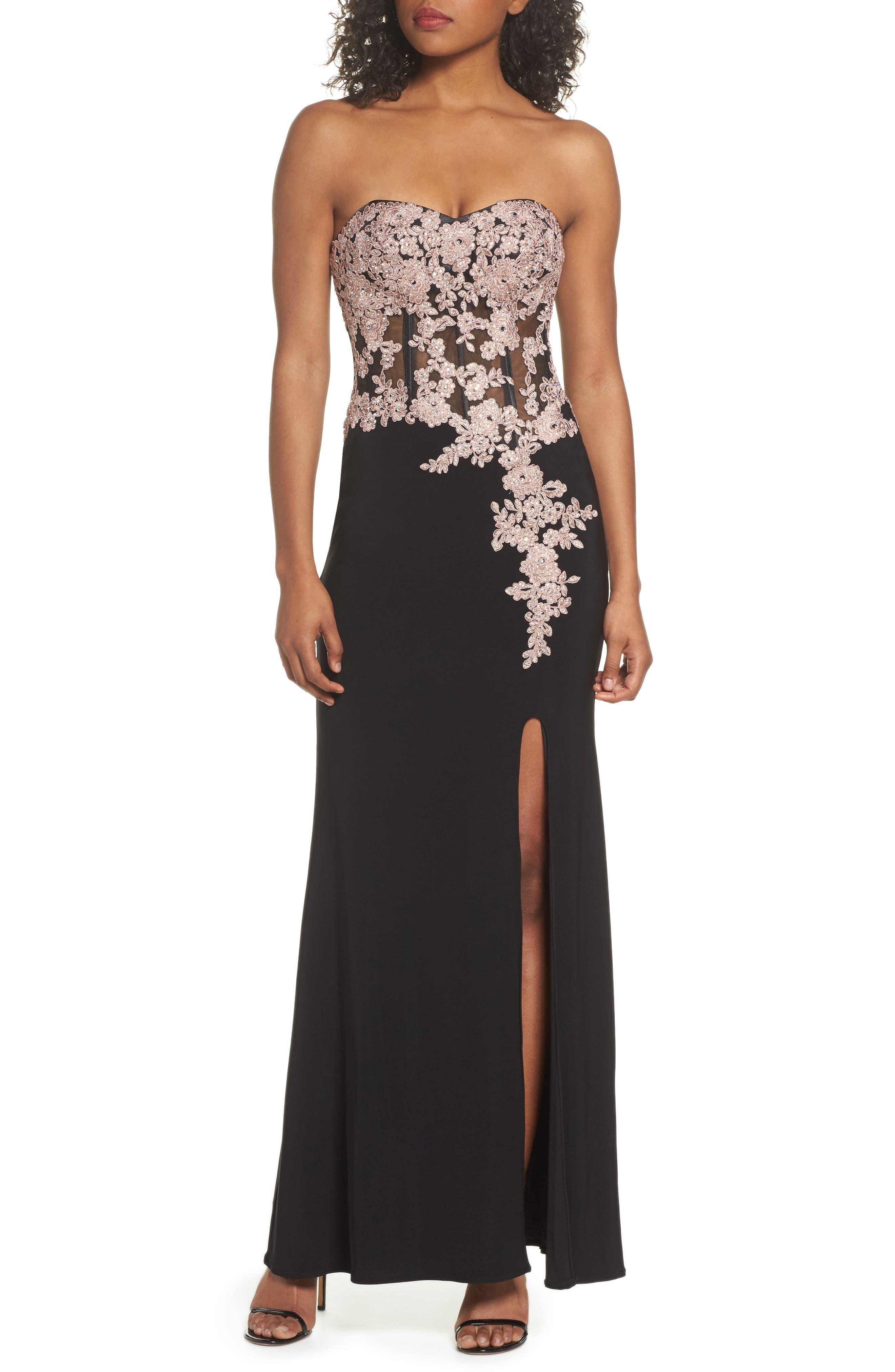 BLONDIE NITES,                             Appliqué Strapless Bustier Gown,                             Main thumbnail 1, color,                             015