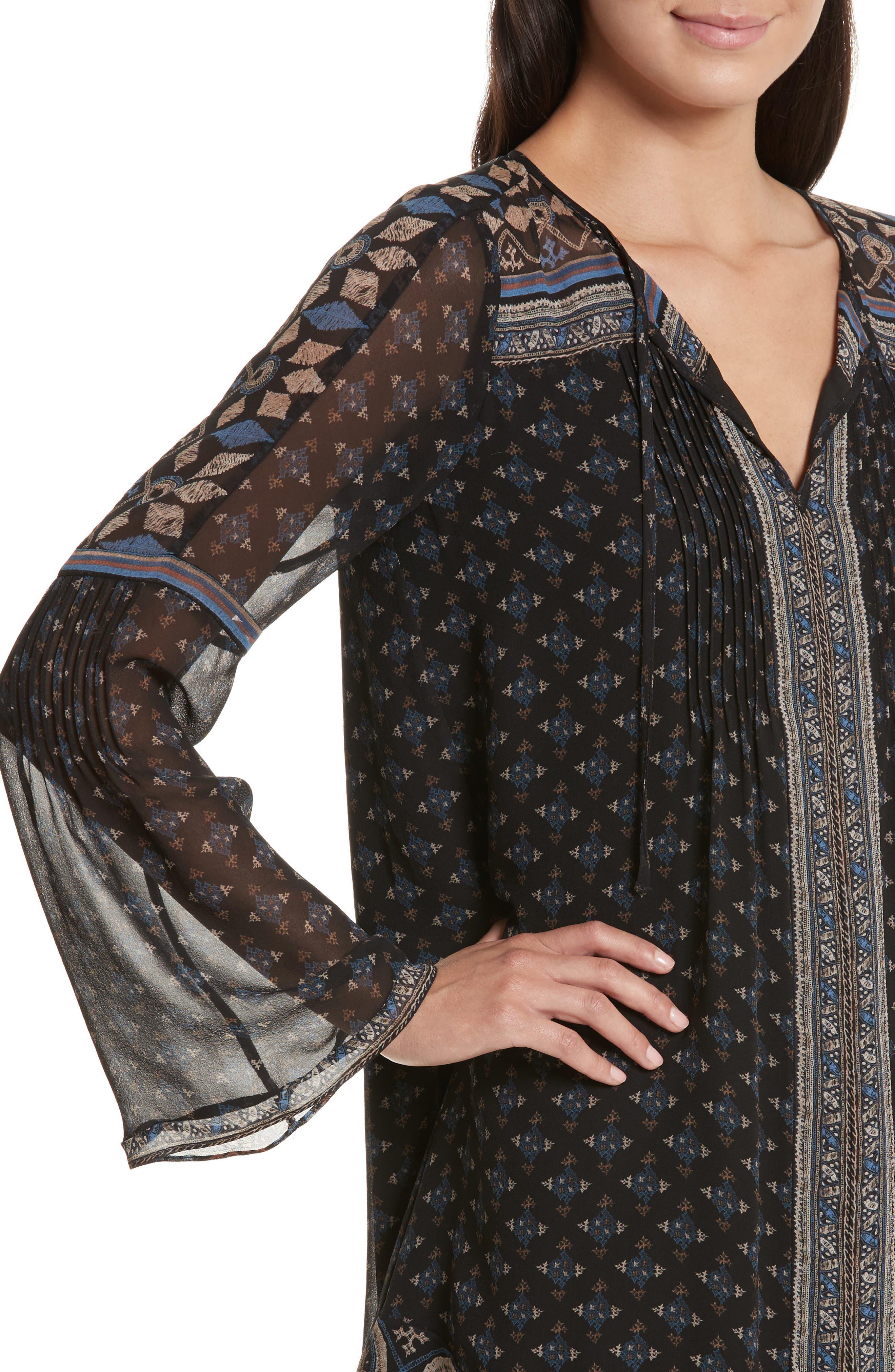 Sheyla Print Silk Shift Dress,                             Alternate thumbnail 4, color,                             004