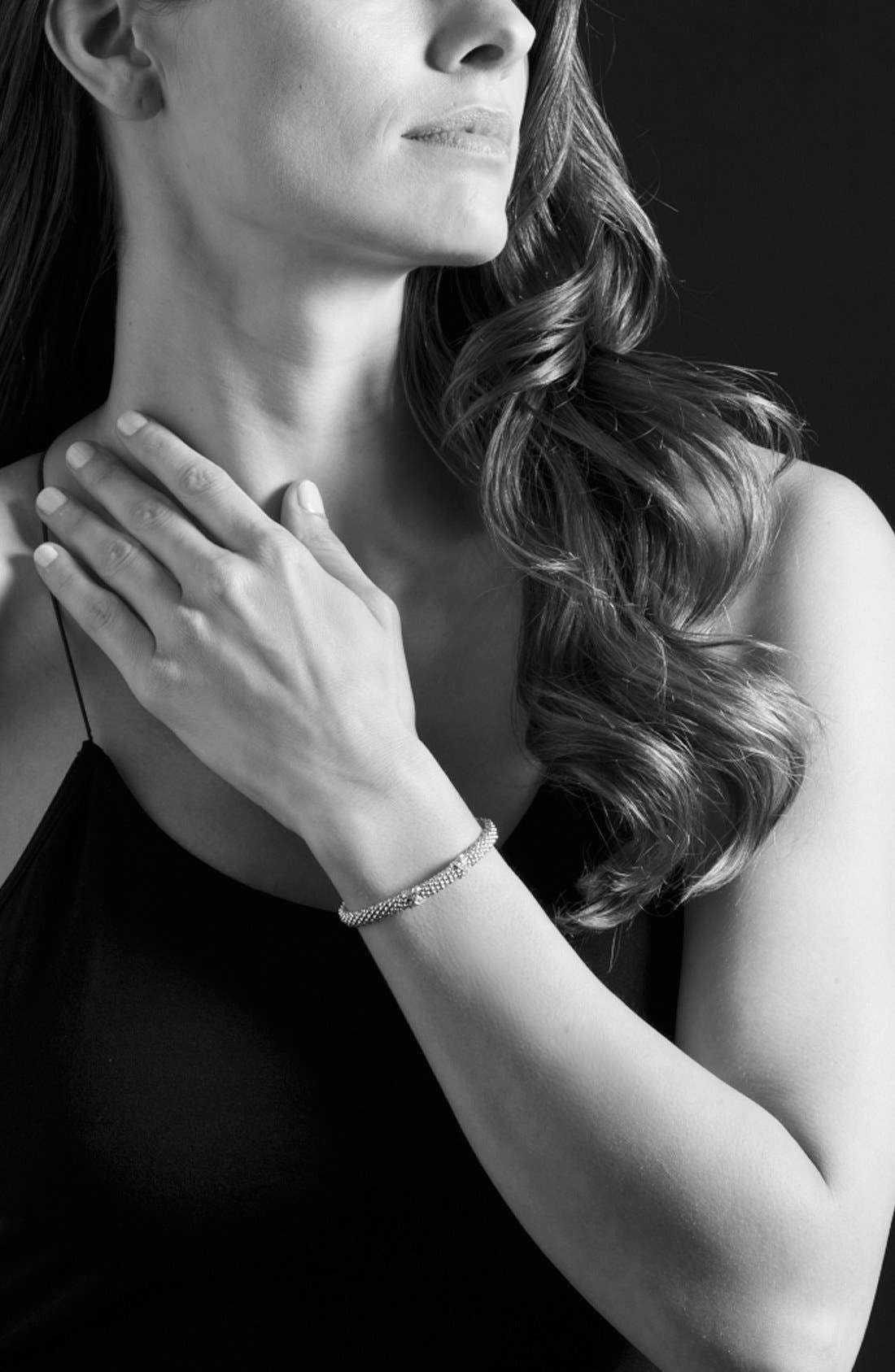 'Signature Caviar' Diamond Rope Bracelet,                             Alternate thumbnail 2, color,                             SILVER/GOLD