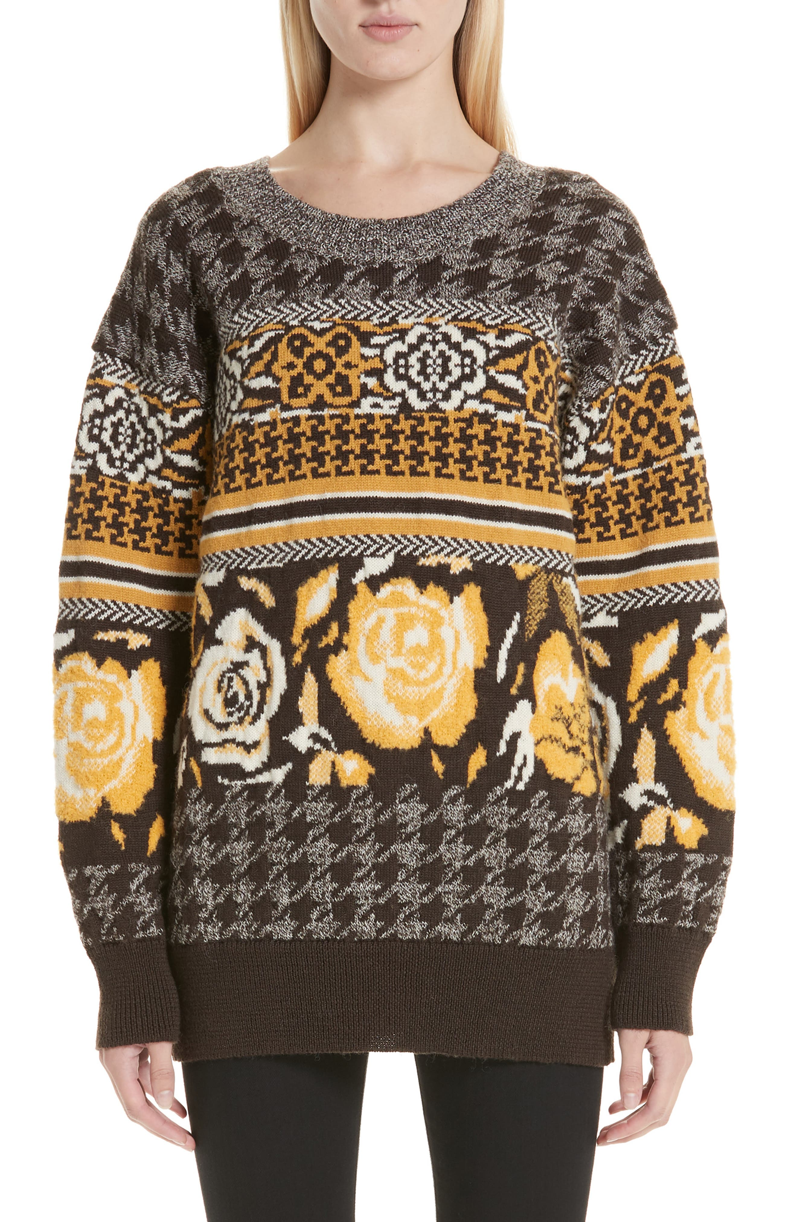 Oversized Sweater,                             Main thumbnail 1, color,                             BROWN/ WHITE/ YELLOW