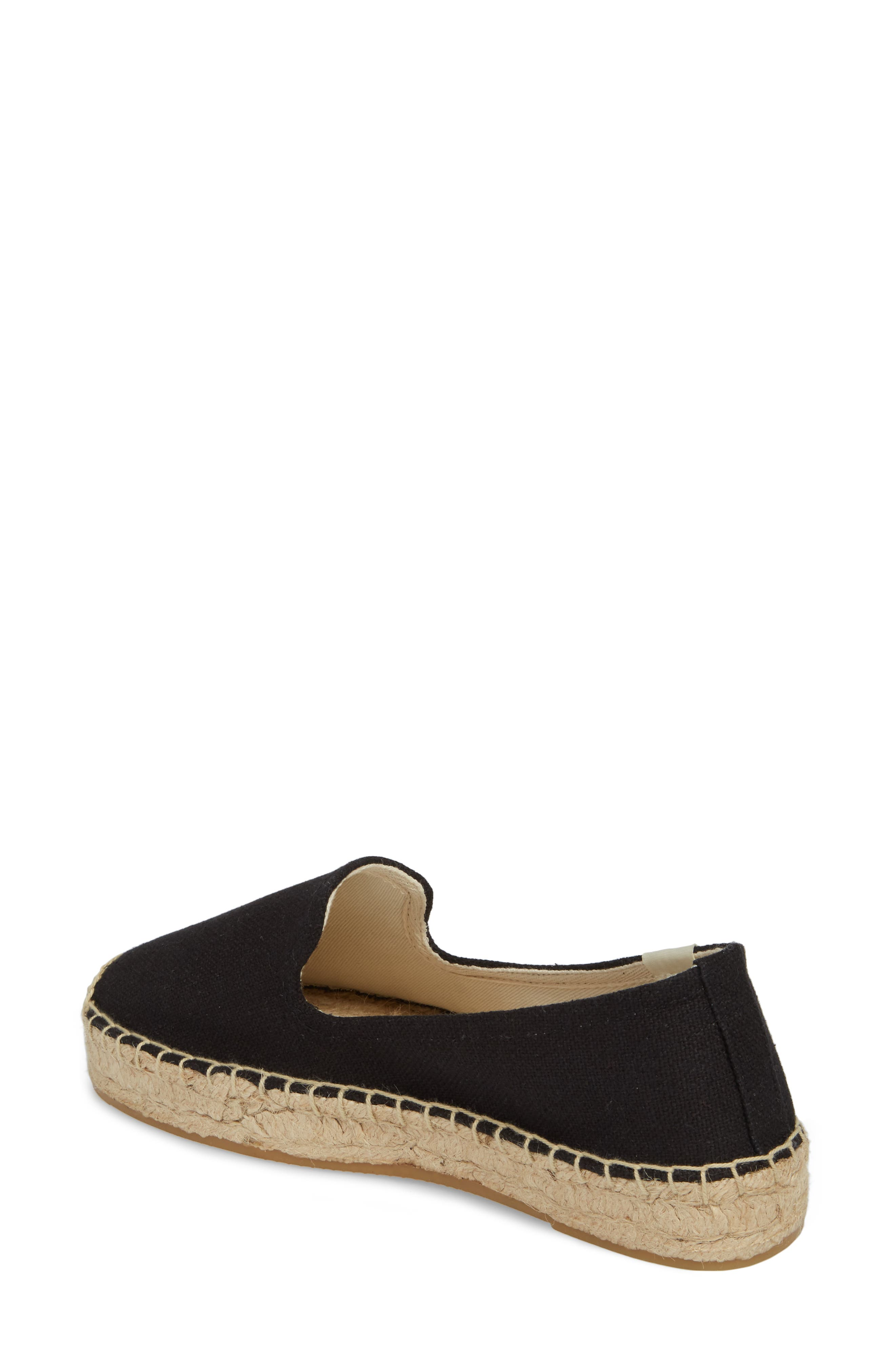 Platform Espadrille Flat,                             Alternate thumbnail 2, color,                             BLACK CANVAS