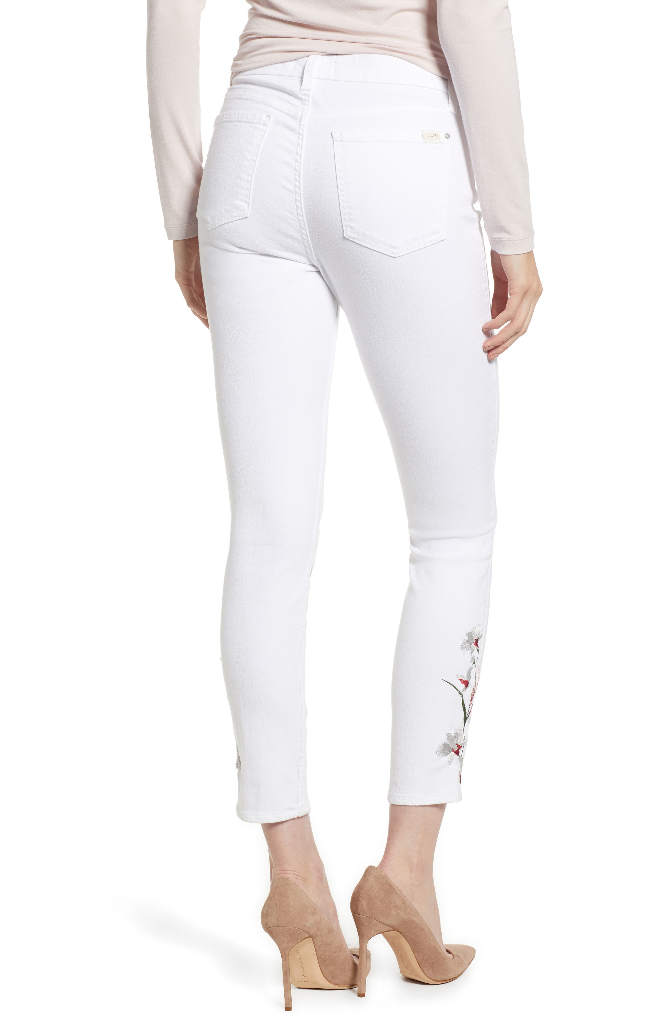 Embroidered Ankle Skinny Jeans,                             Alternate thumbnail 2, color,                             101
