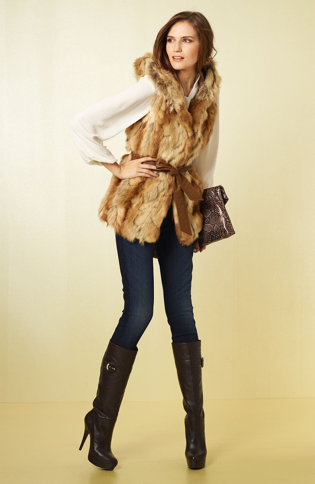 Hooded Faux Fur Vest,                             Alternate thumbnail 2, color,                             250