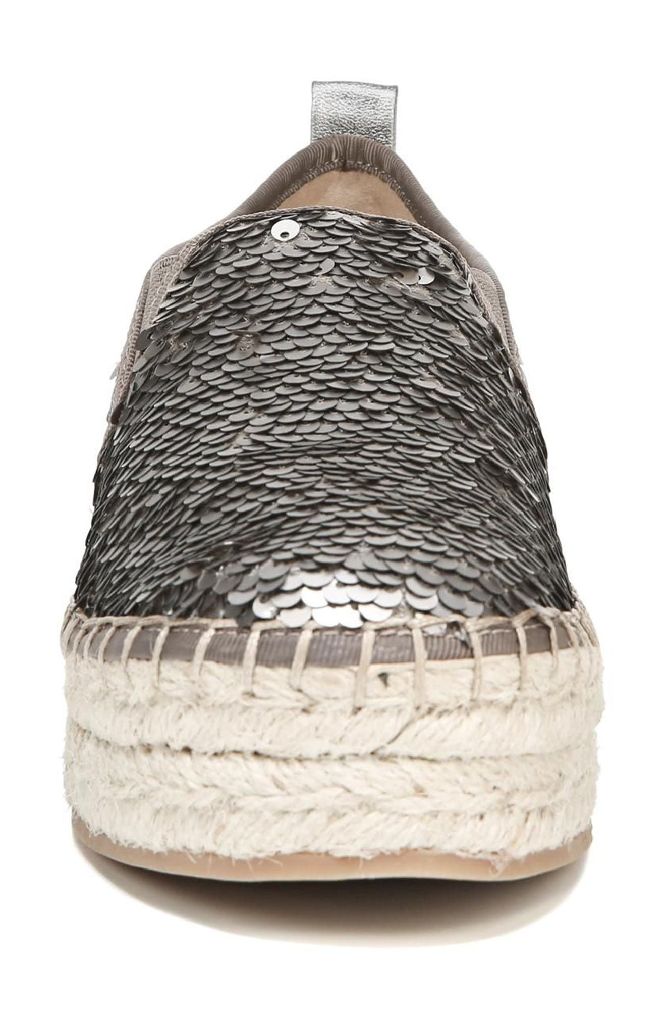 'Carrin' Espadrille Flat,                             Alternate thumbnail 4, color,                             PEWTER SEQUINS