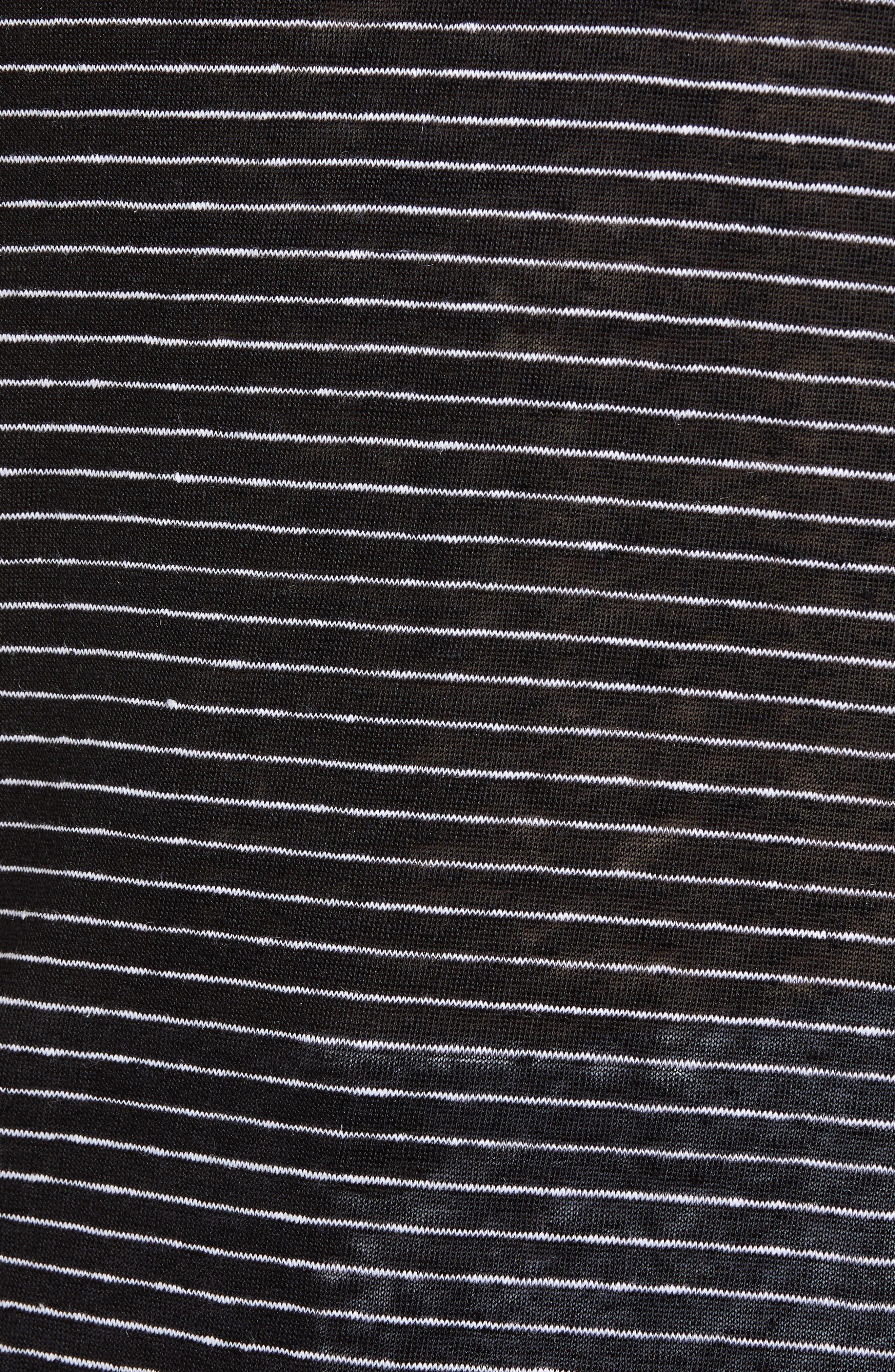 Knit Linen Hoodie,                             Alternate thumbnail 6, color,                             BLACK- IVORY SKINNY STRIPE