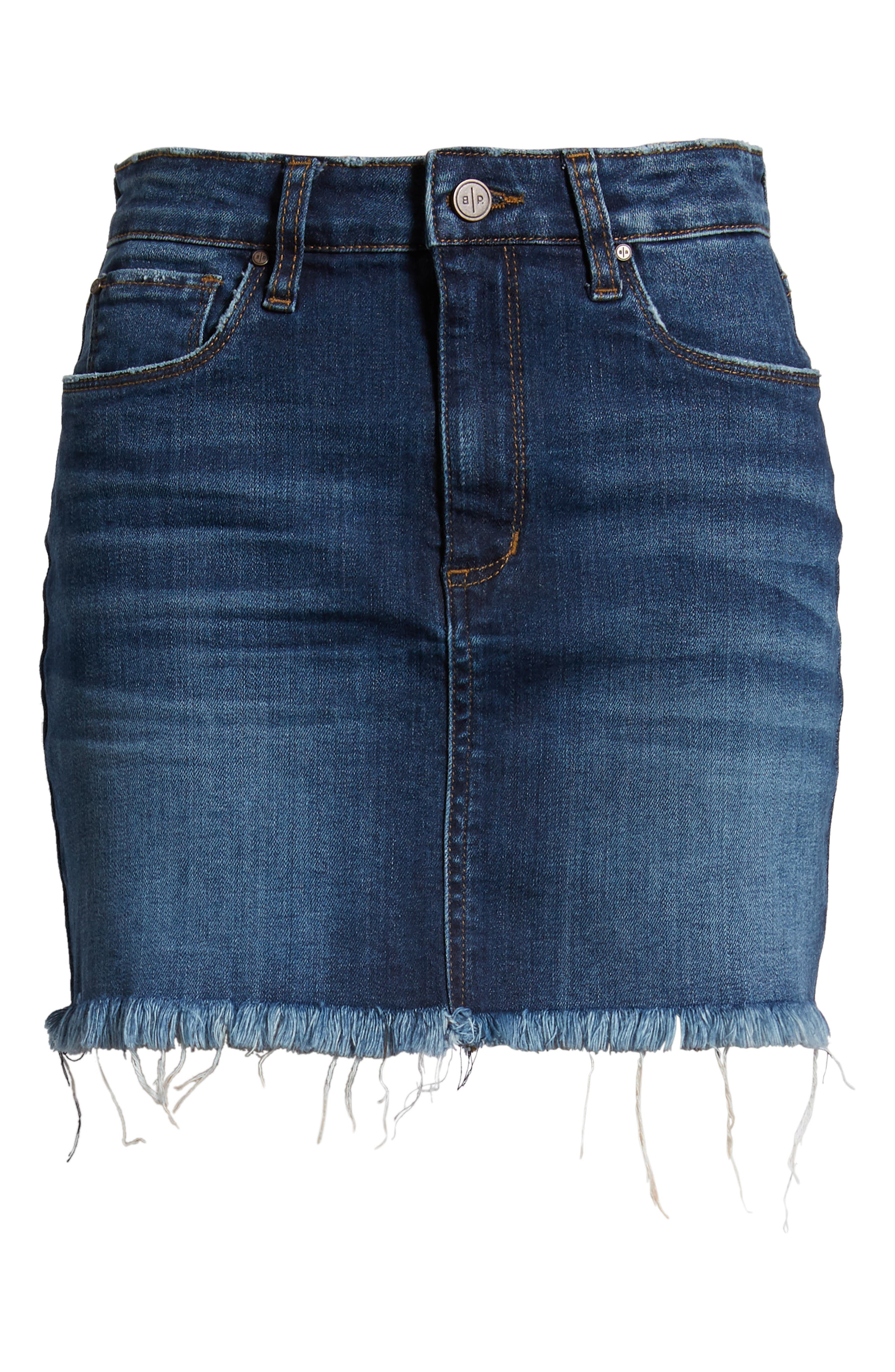 Raw Hem Denim Miniskirt,                             Alternate thumbnail 7, color,                             MEDIUM WASH
