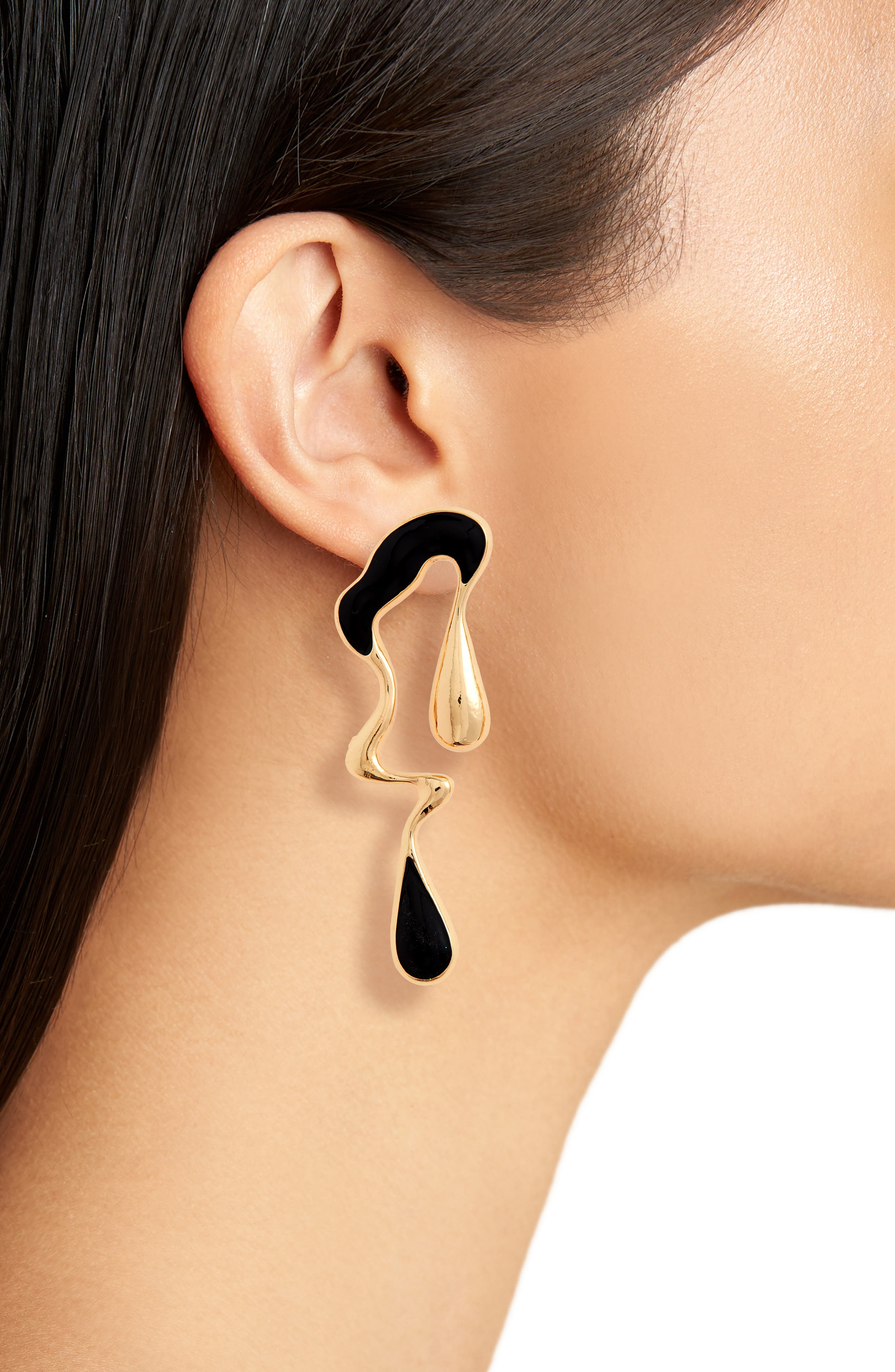 Metal Drip Mismatched Earrings,                             Alternate thumbnail 2, color,                             710