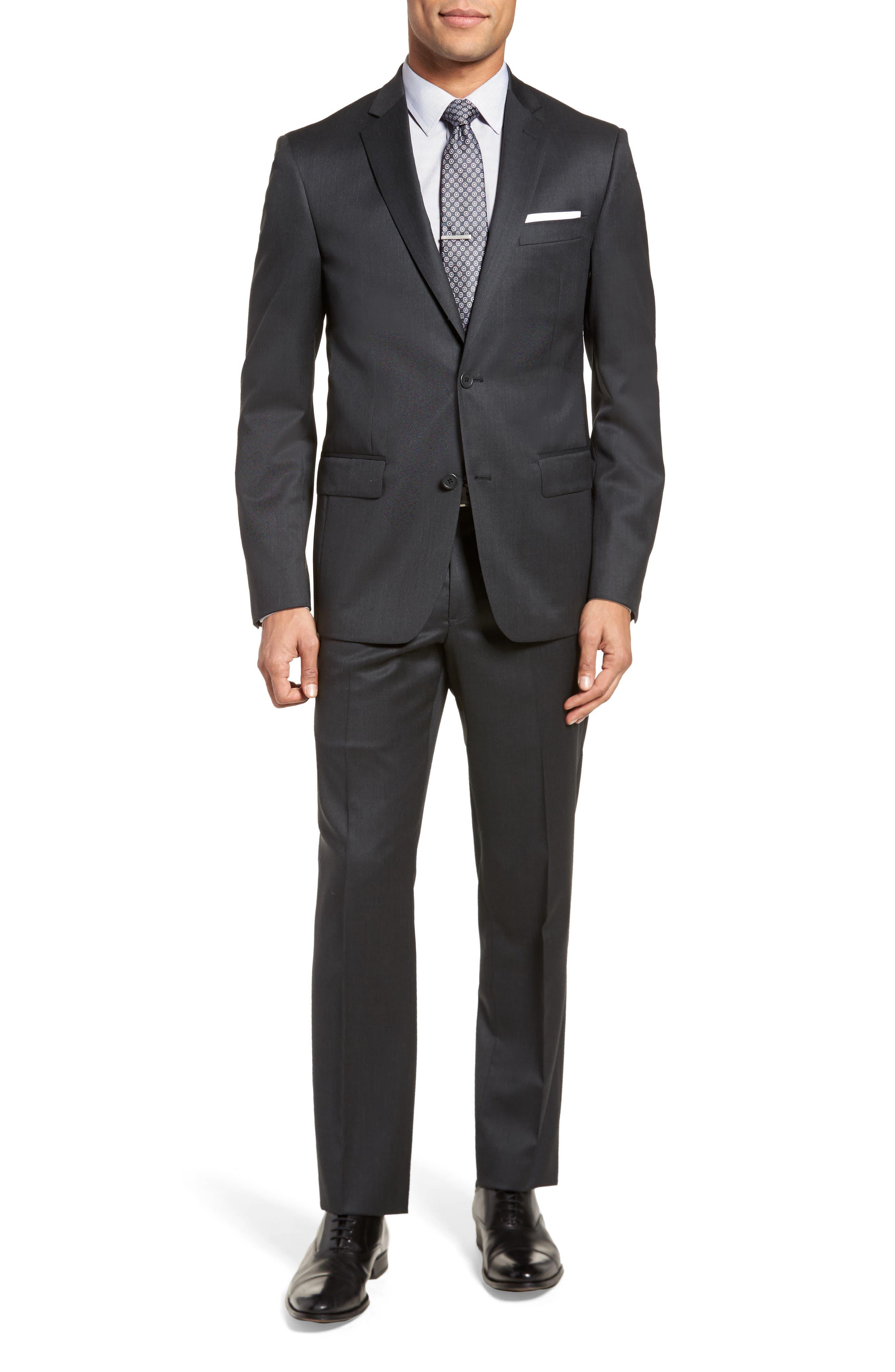 Trim Fit Solid Wool Suit,                         Main,                         color, 021