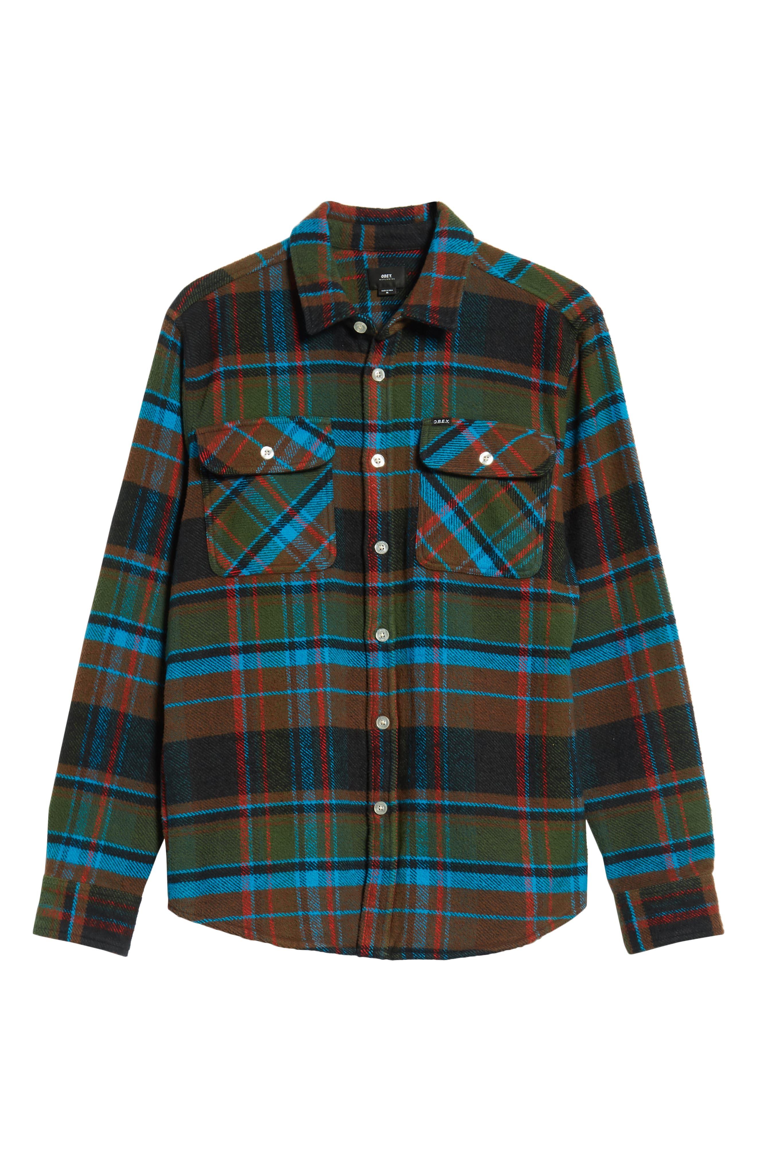 Homebound Heavy Plaid Flannel Shirt Jacket,                             Alternate thumbnail 5, color,                             BLACK FORREST MULTI