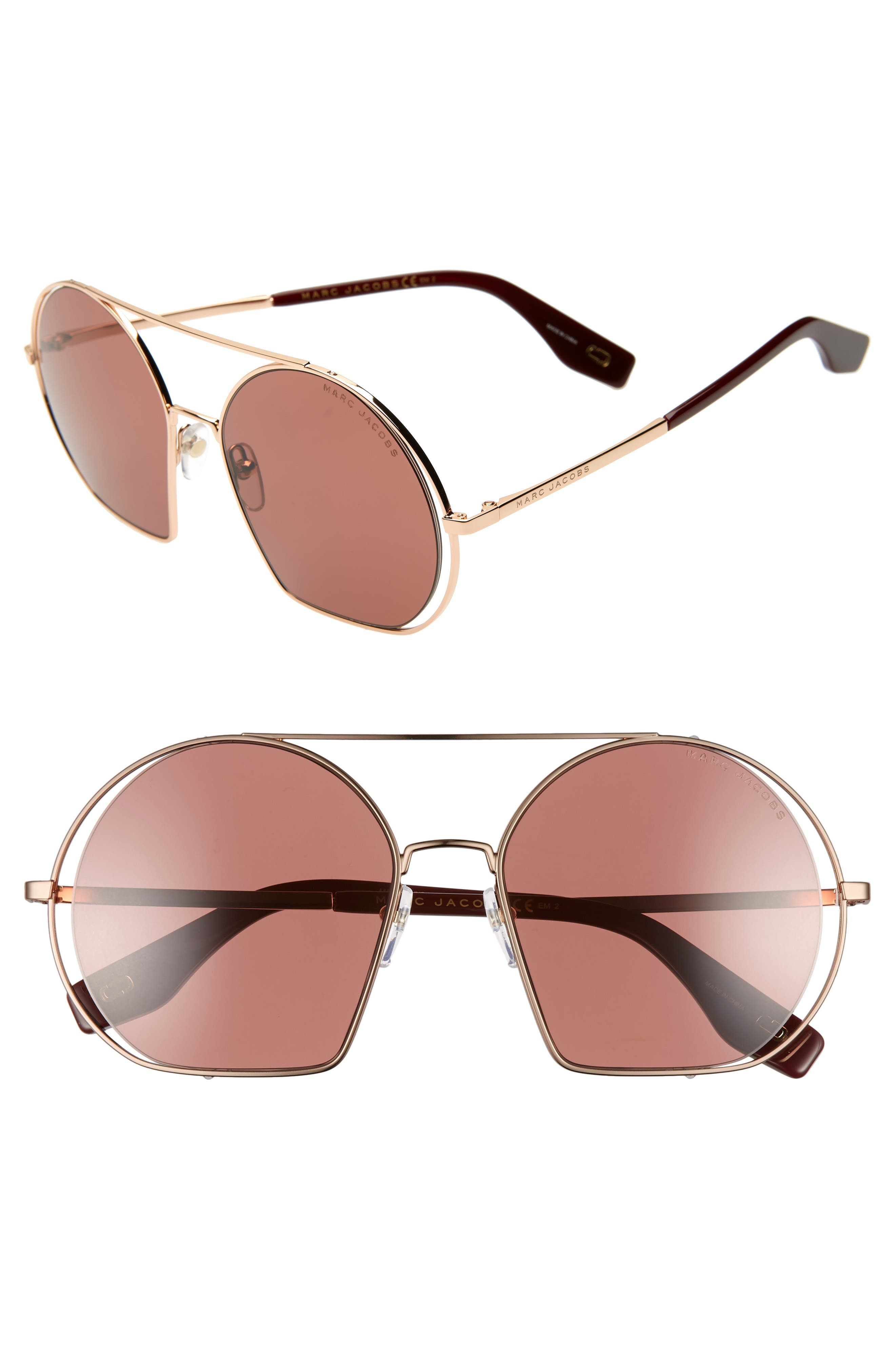 56mm Round Sunglasses,                         Main,                         color, GOLD/ BURGUNDY