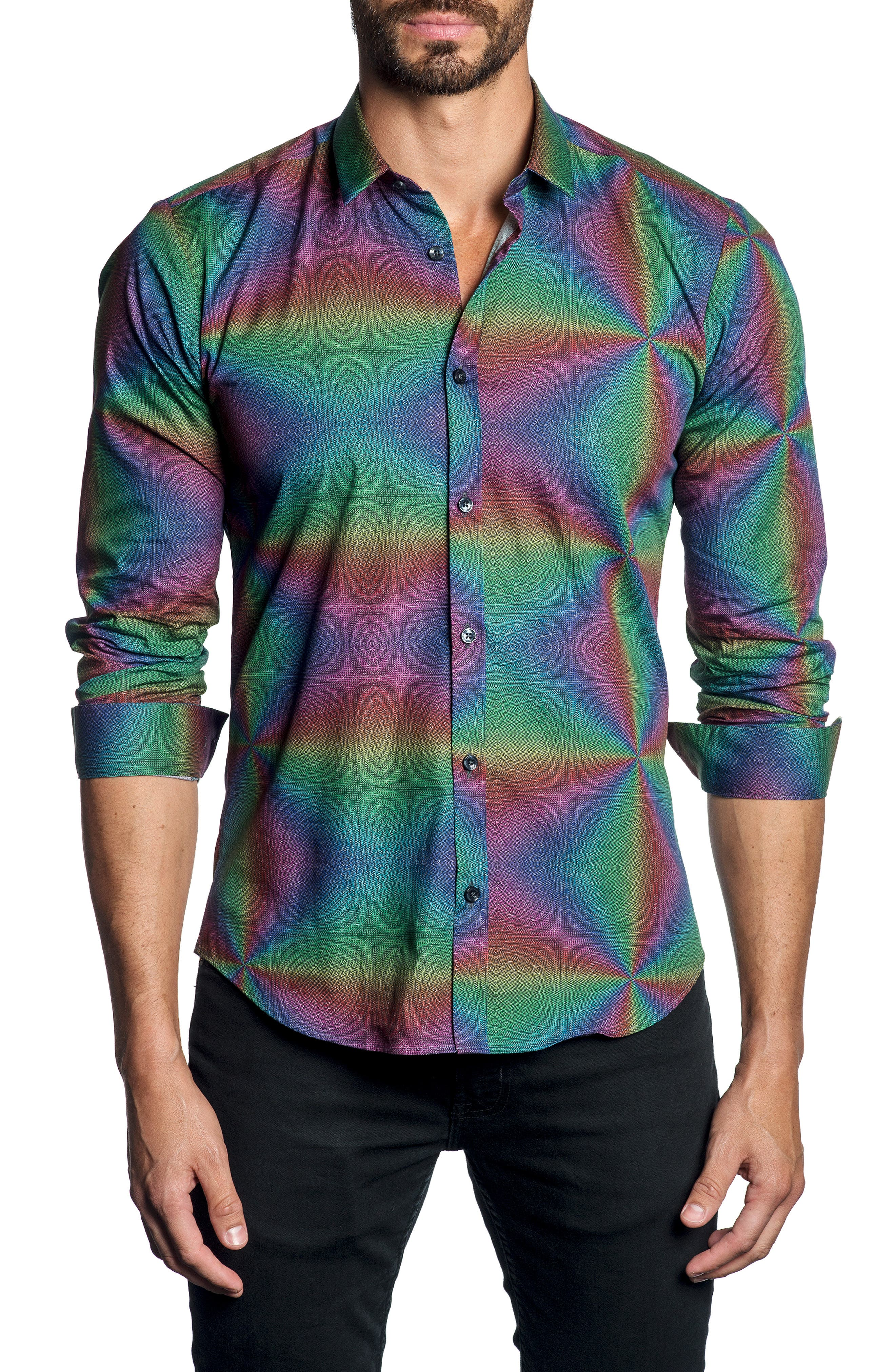 Moiré Print Sport Shirt,                         Main,                         color, 001