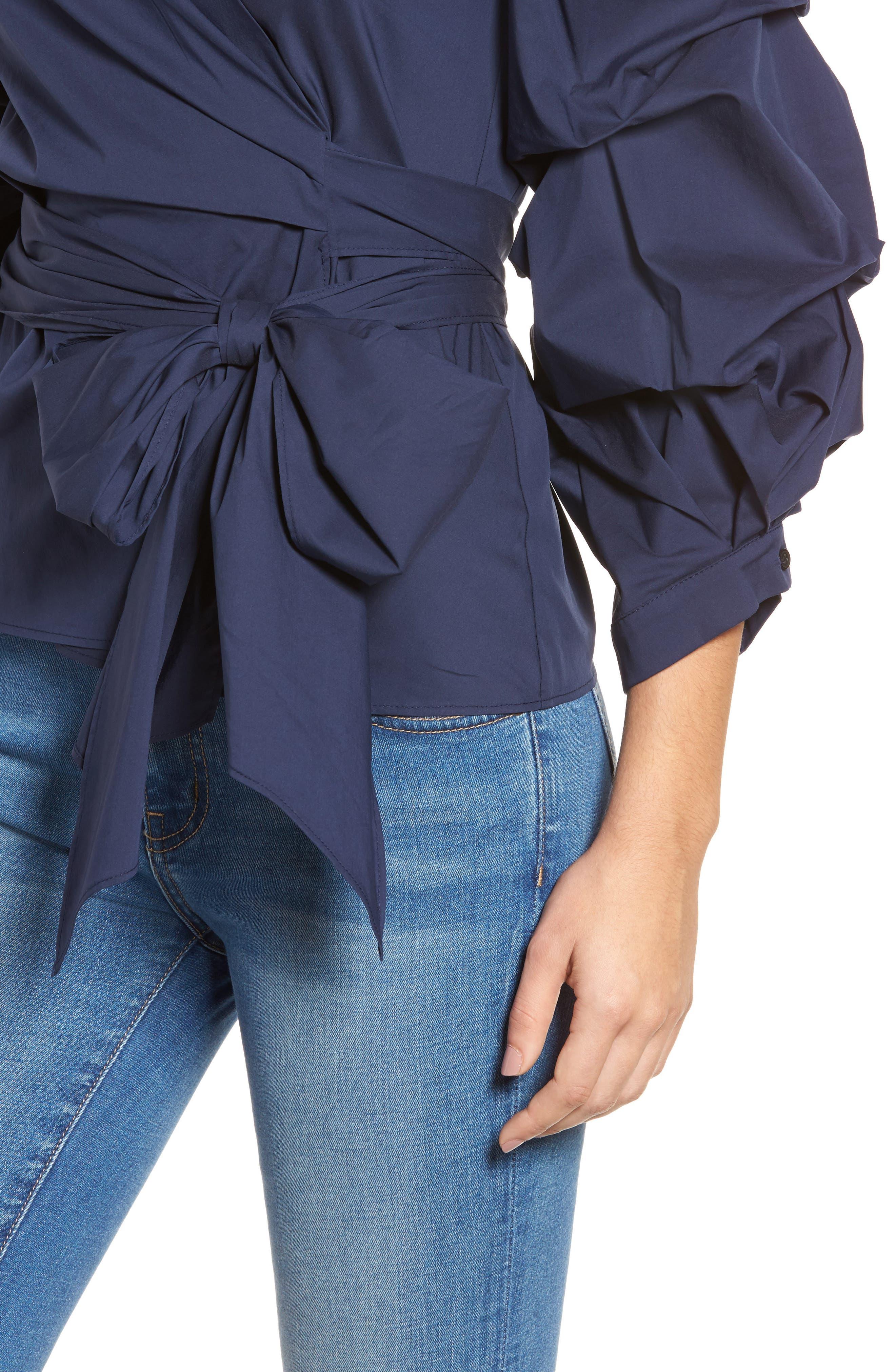 Pintuck Blouson Sleeve Wrap Top,                             Alternate thumbnail 4, color,                             410