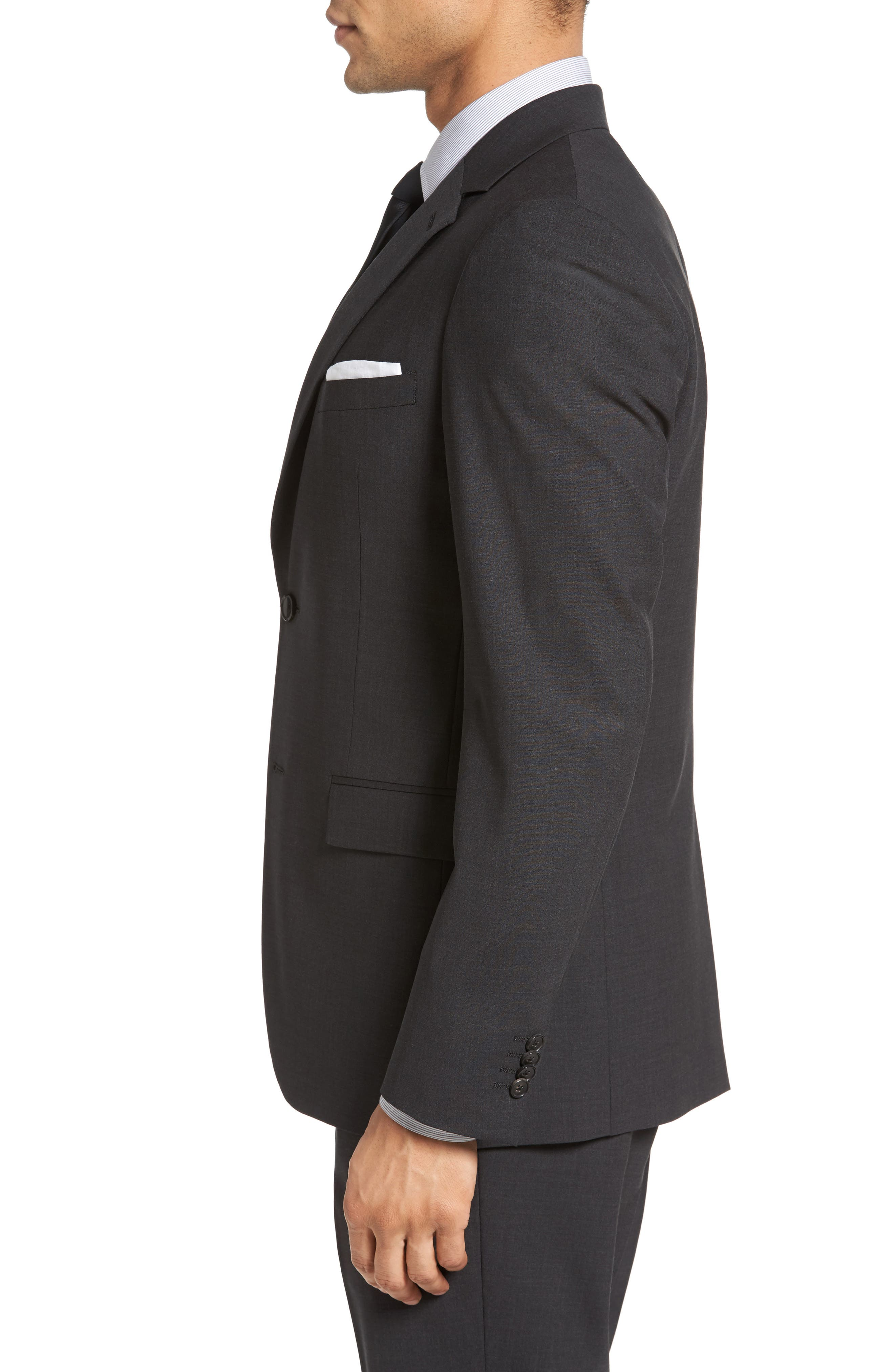 Wellar New Tailor 1 Trim Fit Stretch Wool Sport Coat,                             Alternate thumbnail 3, color,                             DARK CHARCOAL