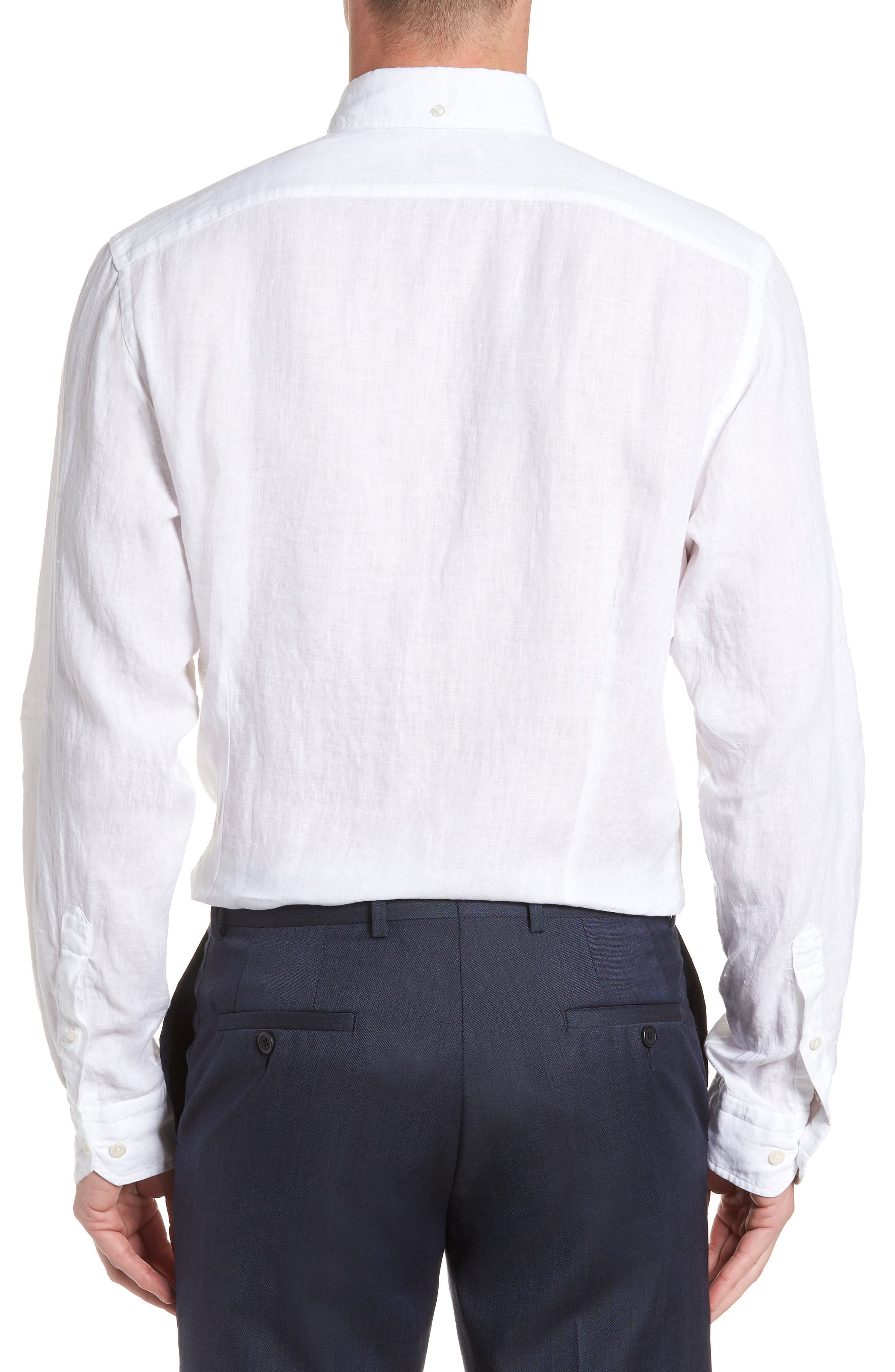Contemporary Fit Solid Linen Dress Shirt,                             Alternate thumbnail 3, color,                             WHITE