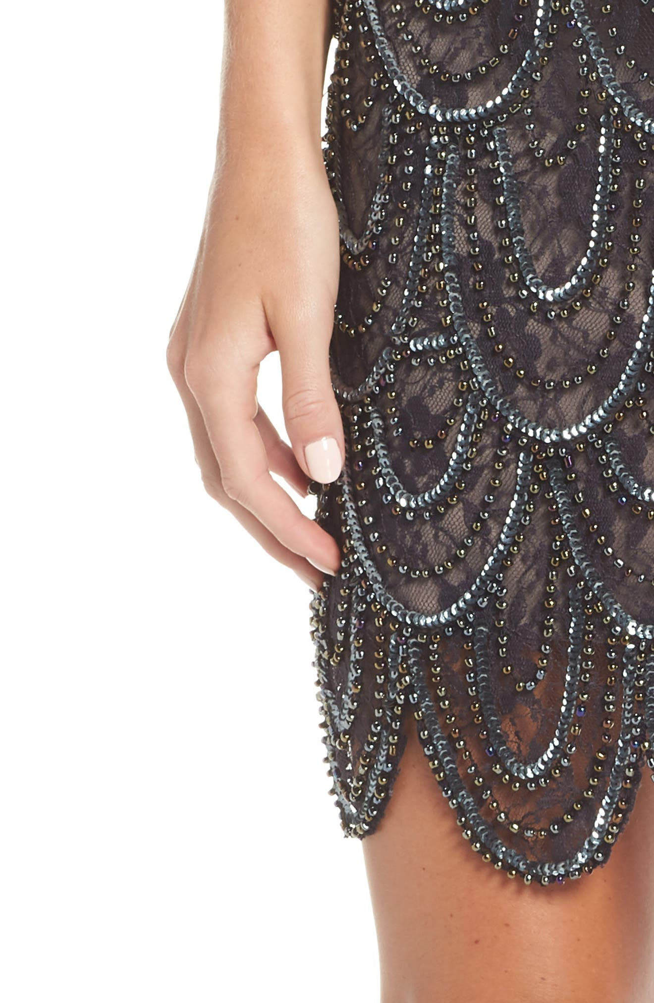 PISARRO NIGHTS,                             Beaded Lace Sheath Dress,                             Alternate thumbnail 4, color,                             200