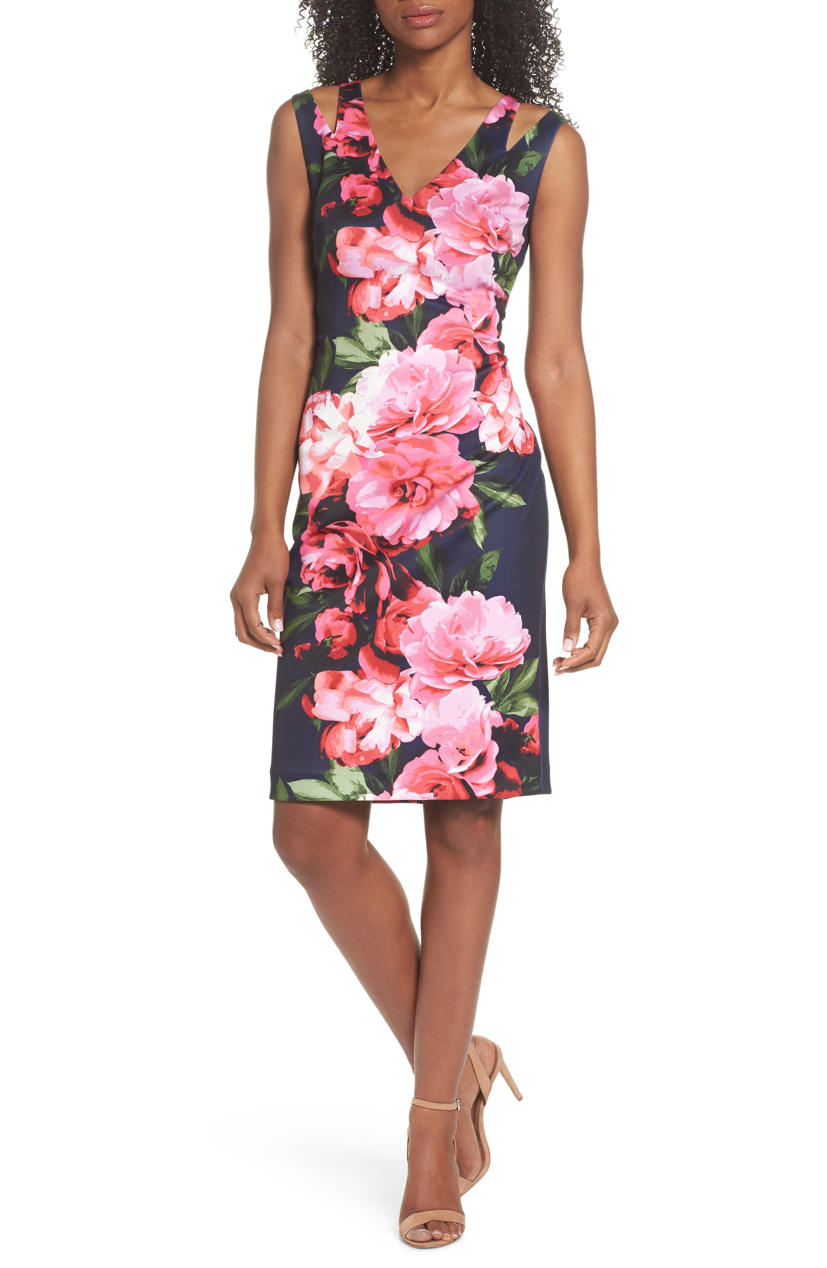 Scuba Sheath Dress,                             Main thumbnail 1, color,                             410