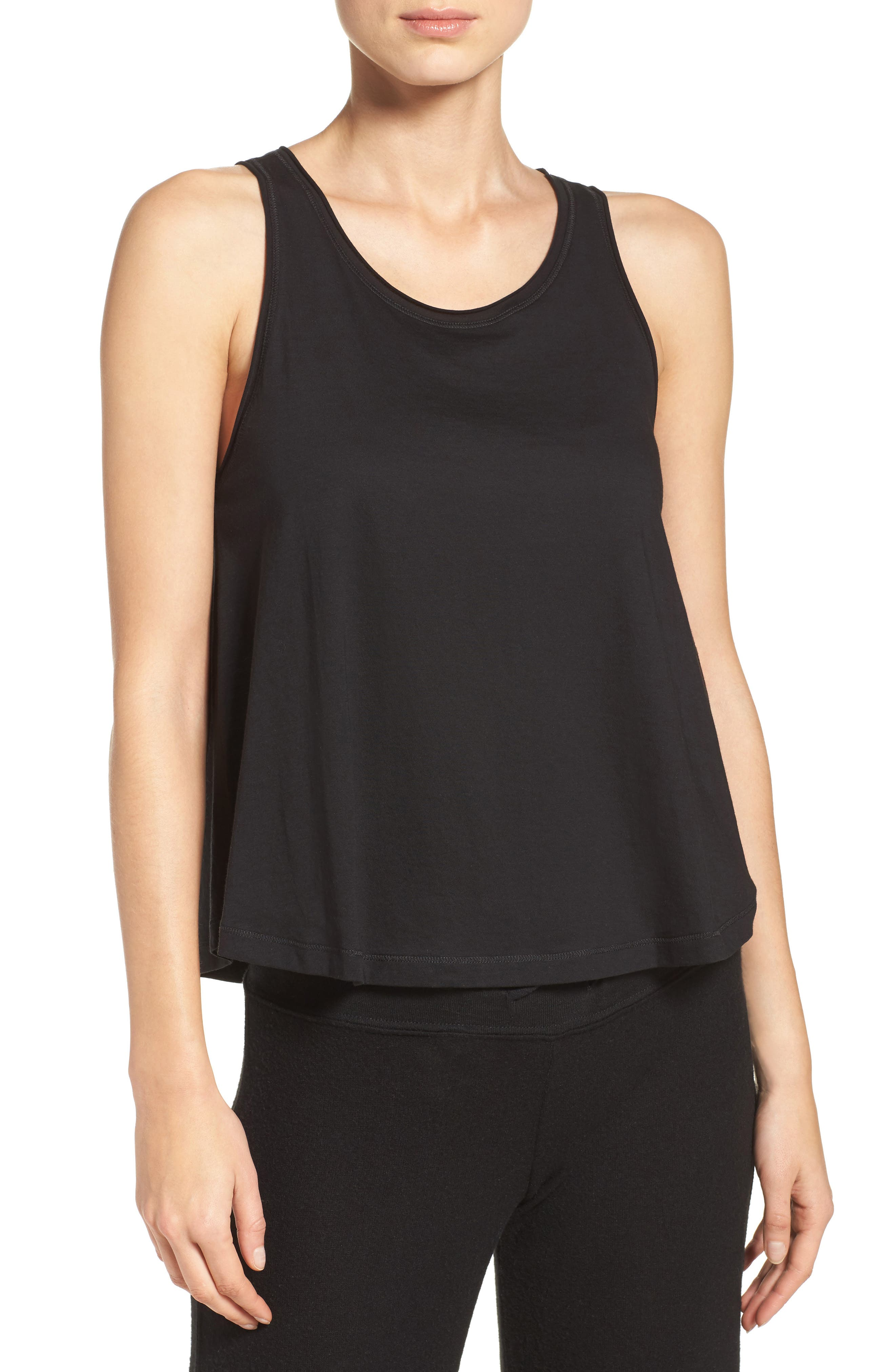Mesh Inset Jersey Tank,                         Main,                         color, BLACK