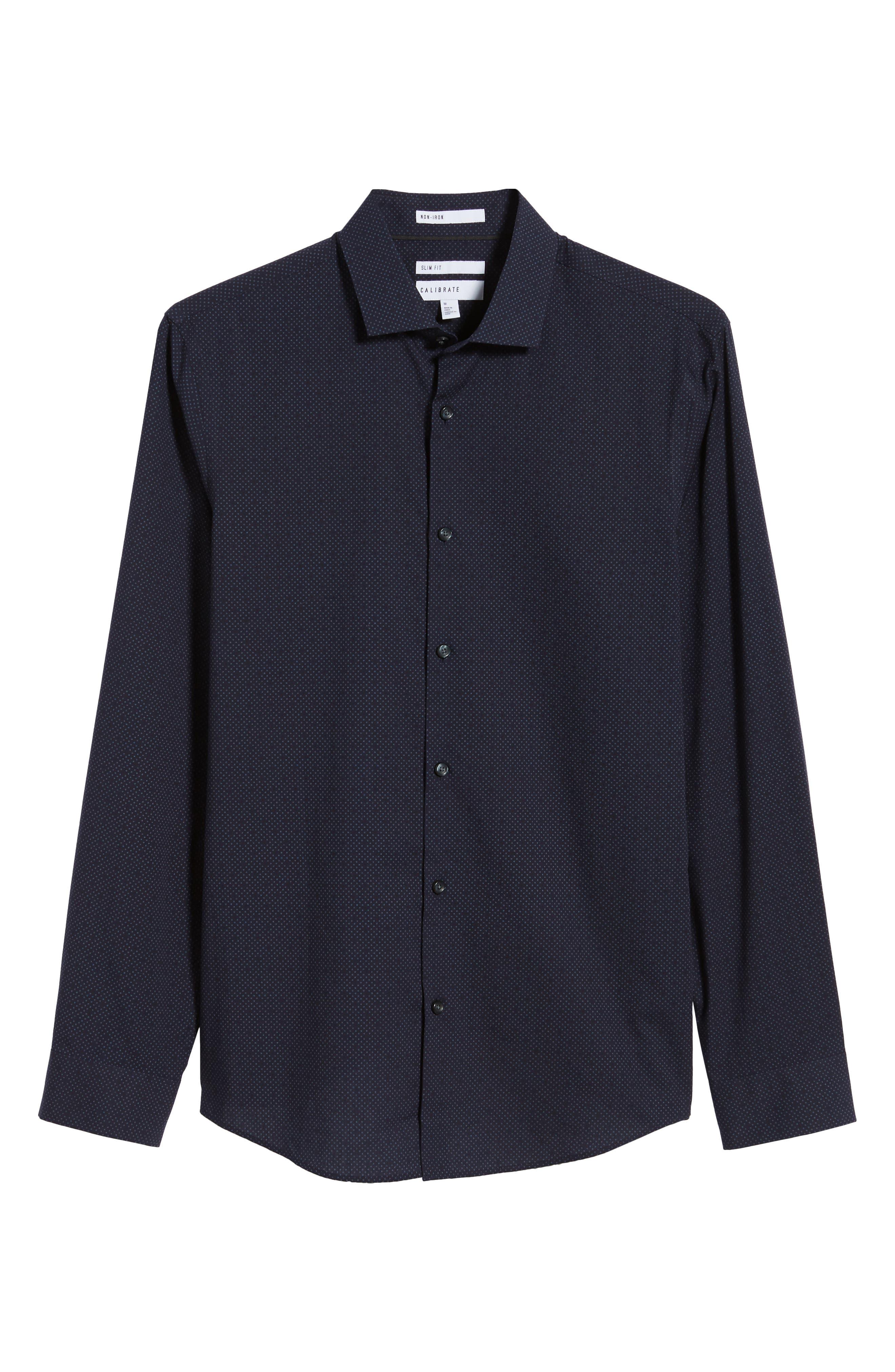 CALIBRATE,                             Slim Fit Dot Non-Iron Sport Shirt,                             Alternate thumbnail 6, color,                             410
