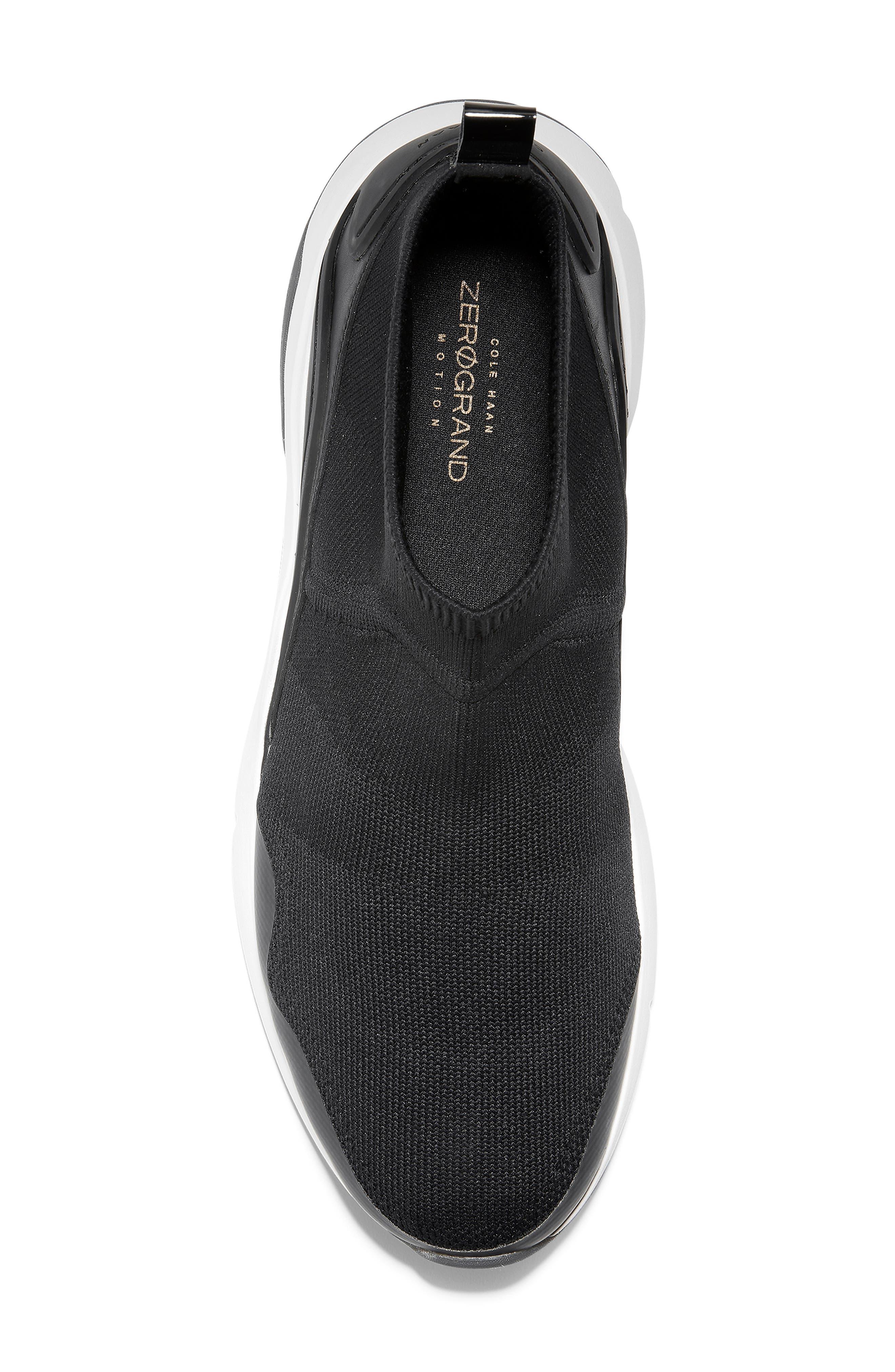 ZeroGrand Motion Slip-On Sneaker,                             Alternate thumbnail 5, color,                             BLACK LEATHER
