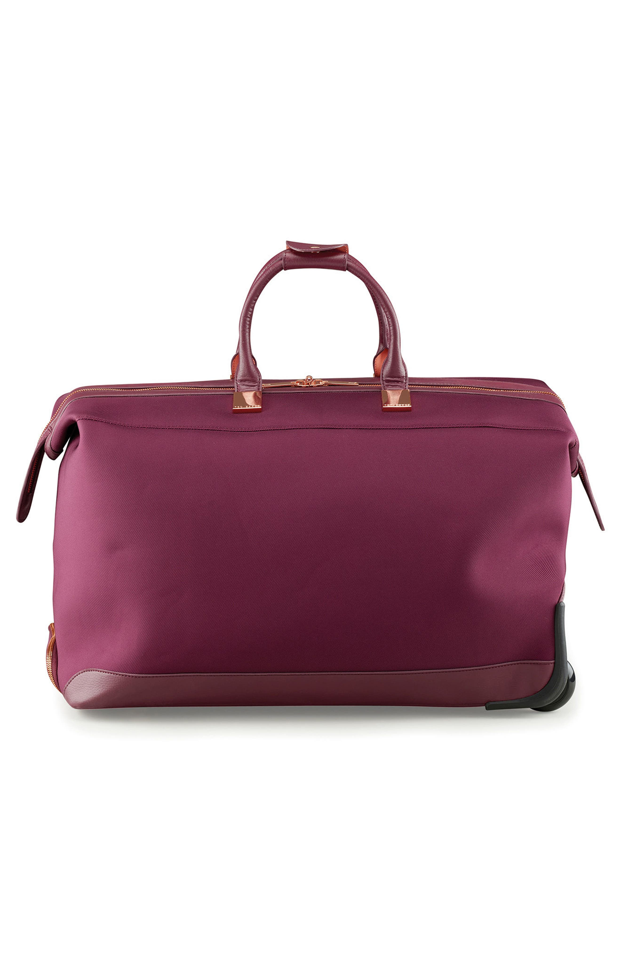 22-Inch Large Front Pocket Rolling Duffel Bag,                             Alternate thumbnail 3, color,                             BURGUNDY