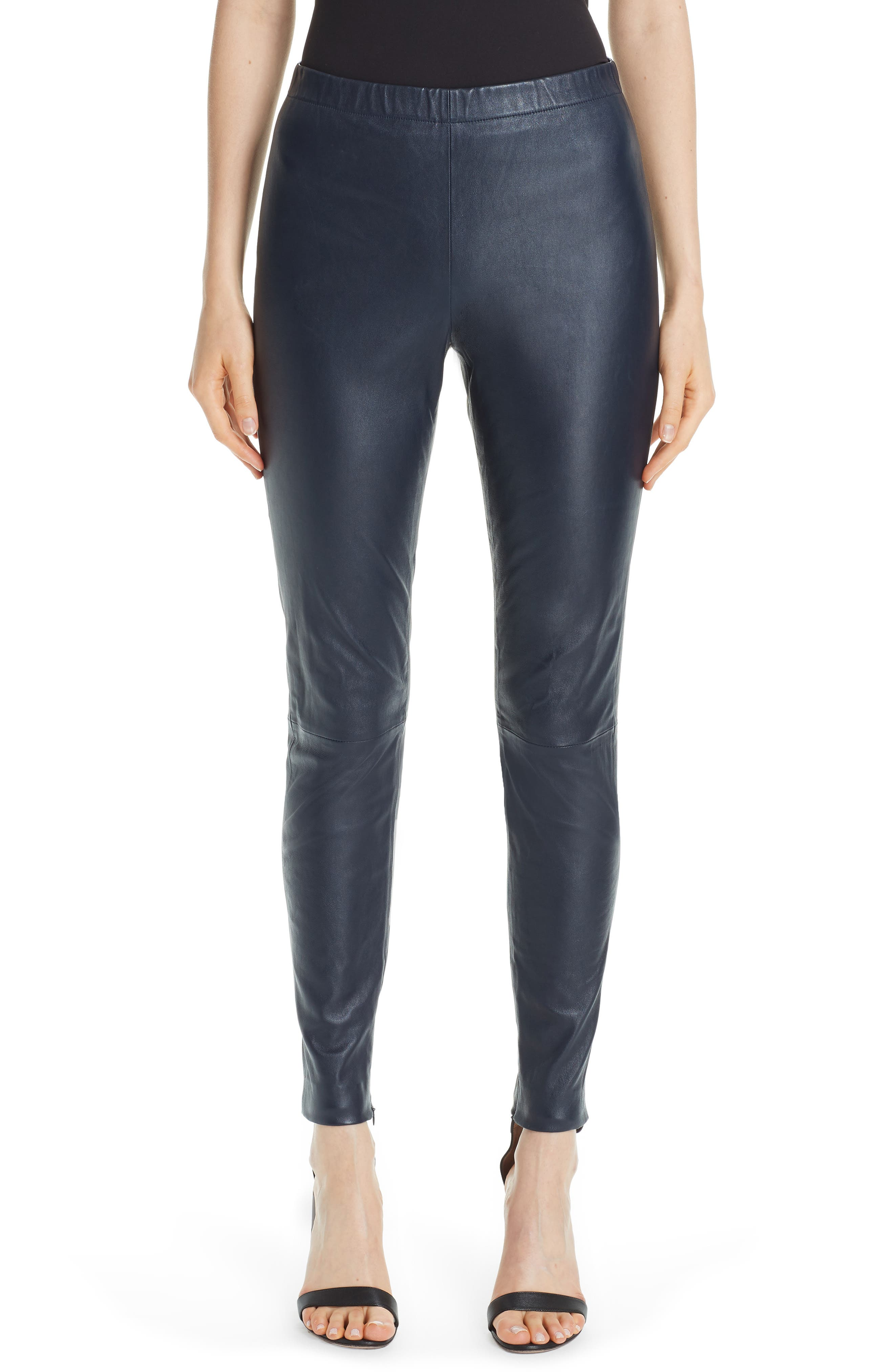 St. John Collection Stretch Nappa Leather Crop Leggings, Blue