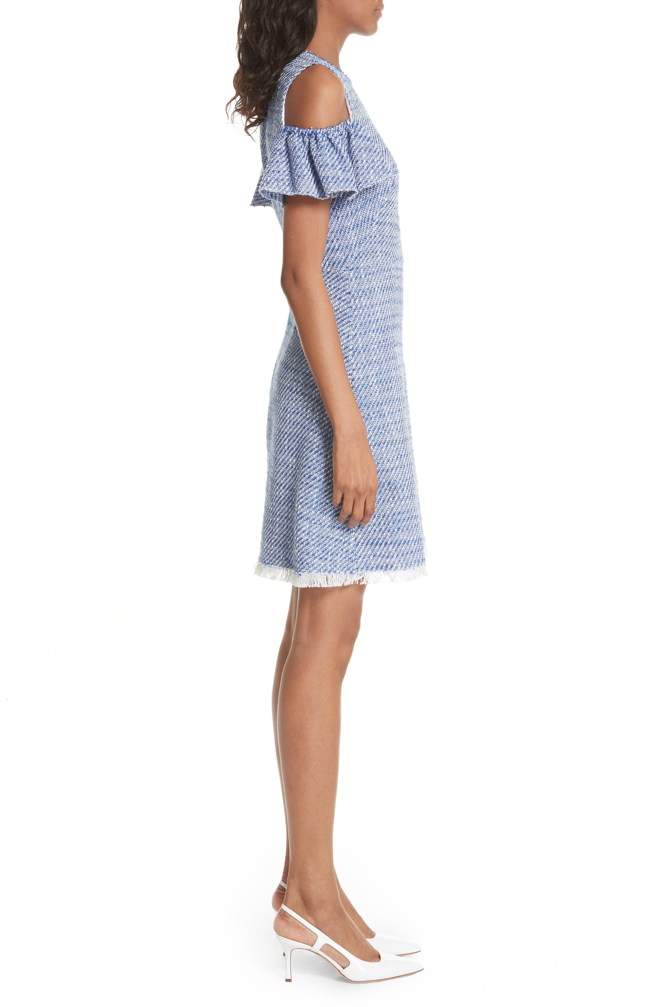 cold shoulder cotton blend tweed dress,                             Alternate thumbnail 3, color,
