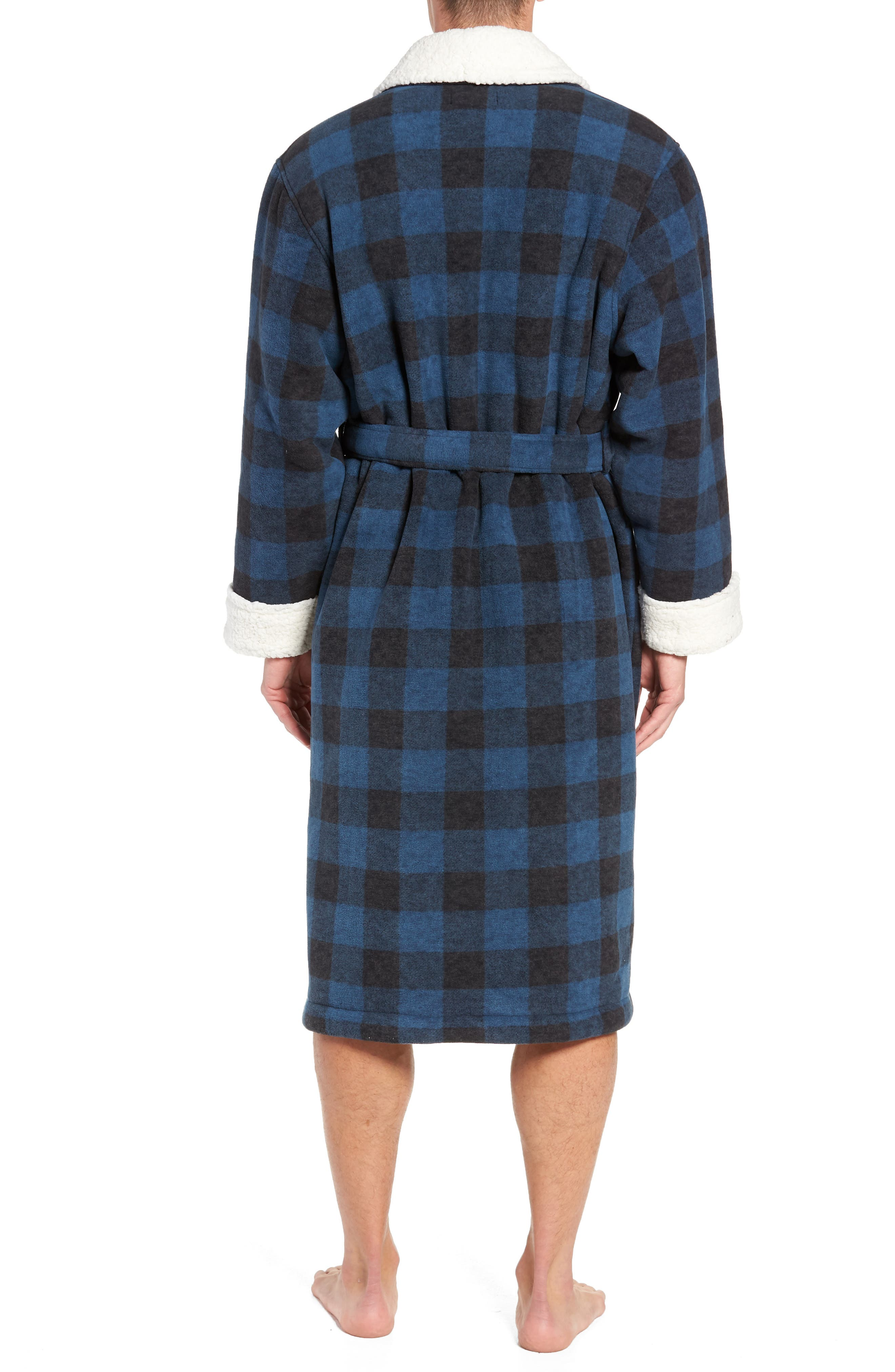Plaid Fleece Robe with Faux Shearling Lining,                             Alternate thumbnail 2, color,                             410