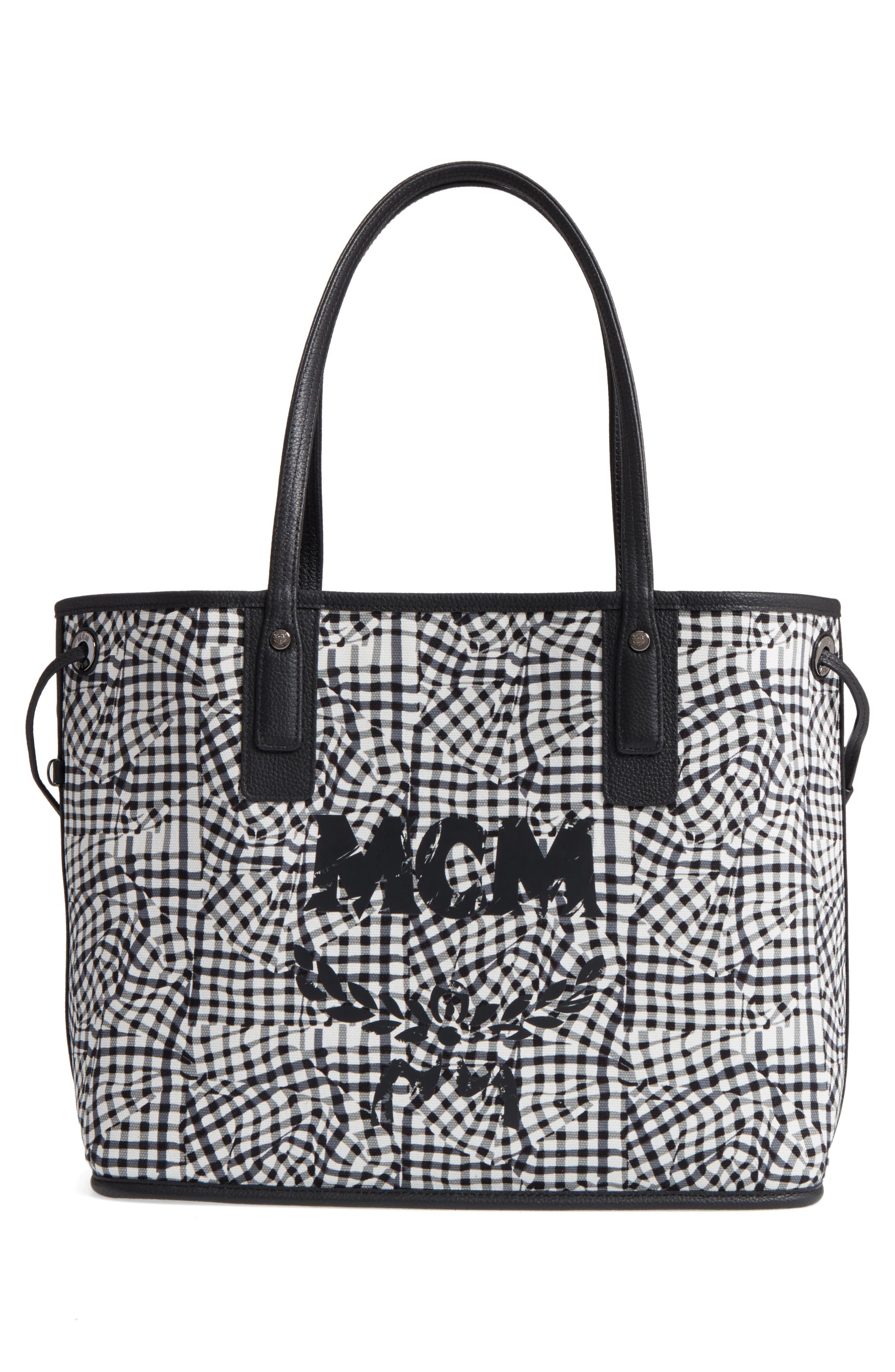 Medium Liz Reversible Visetos Leather Shopper,                             Alternate thumbnail 3, color,                             BLACK