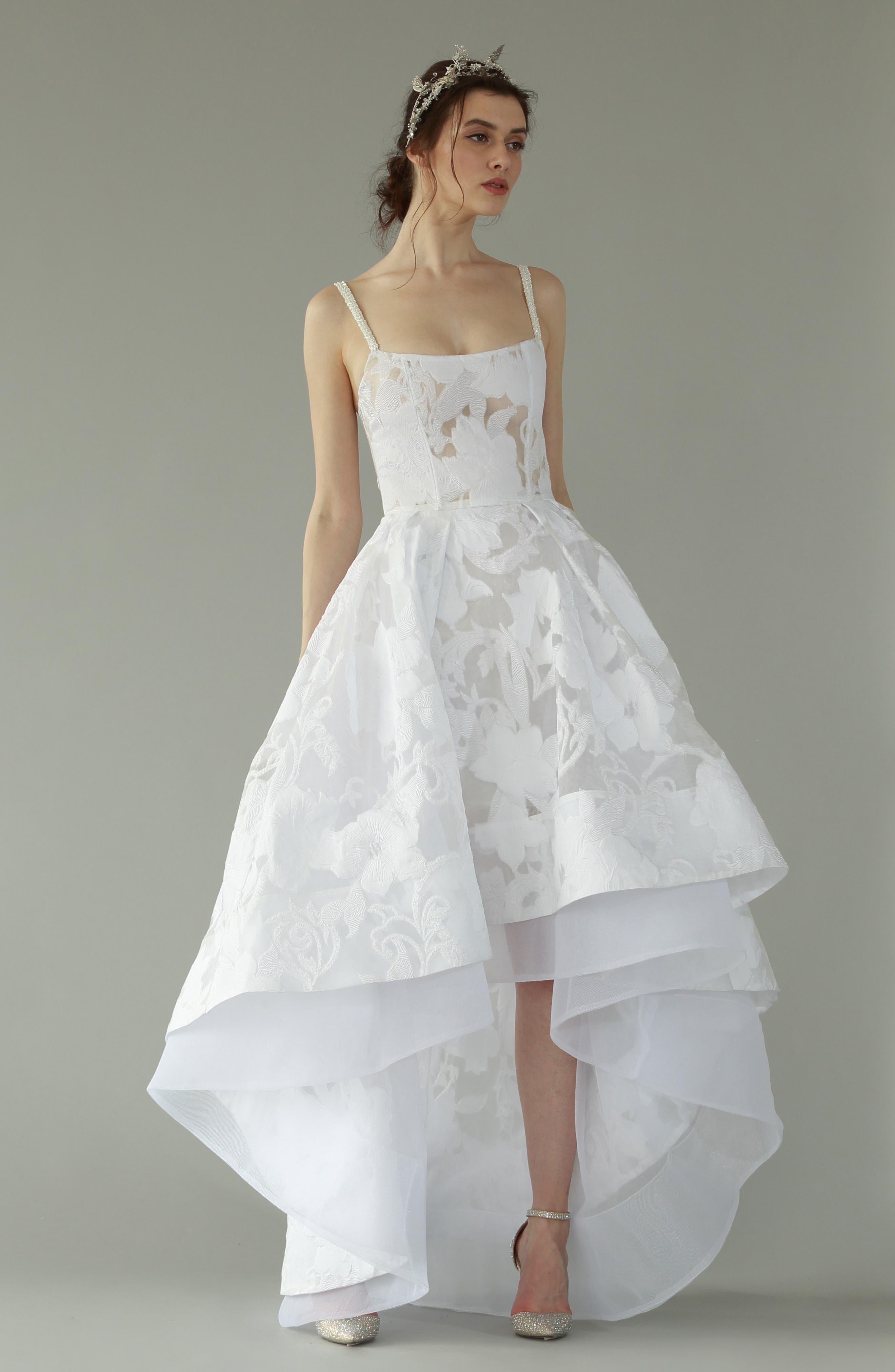 Boheme Floral High/Low Dress,                             Alternate thumbnail 6, color,                             WHITE