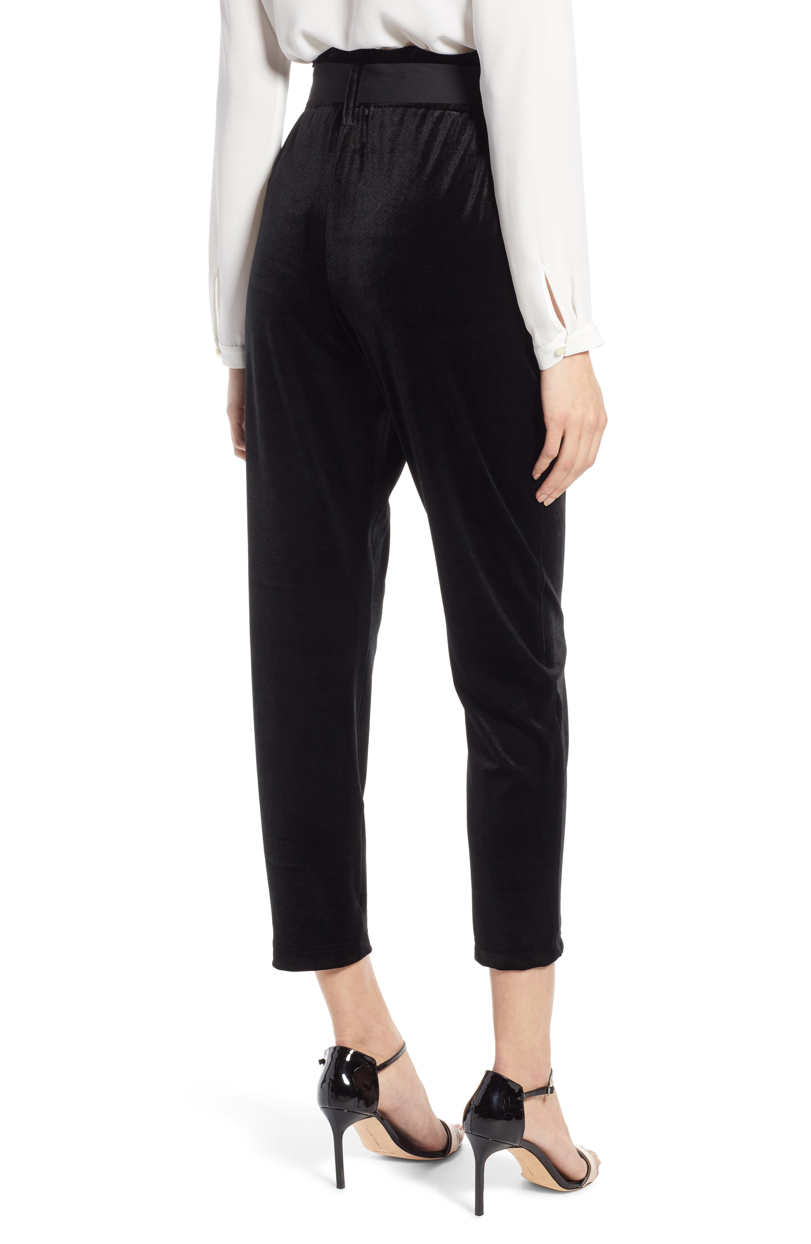 Tie Waist Velvet Pants,                             Alternate thumbnail 3, color,                             001
