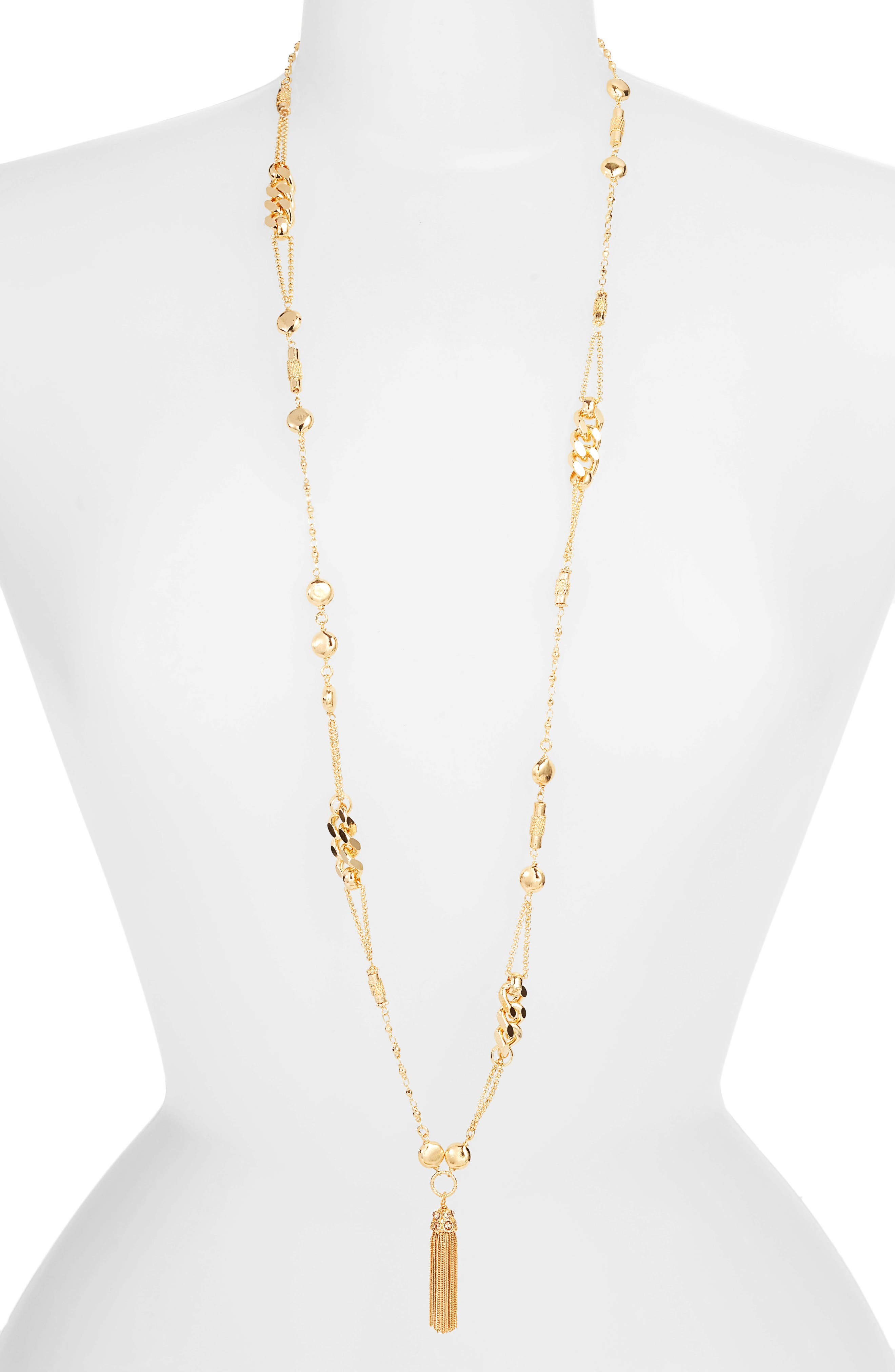 Filou Long Tassel Pendant Necklace,                             Main thumbnail 1, color,                             YELLOW GOLD