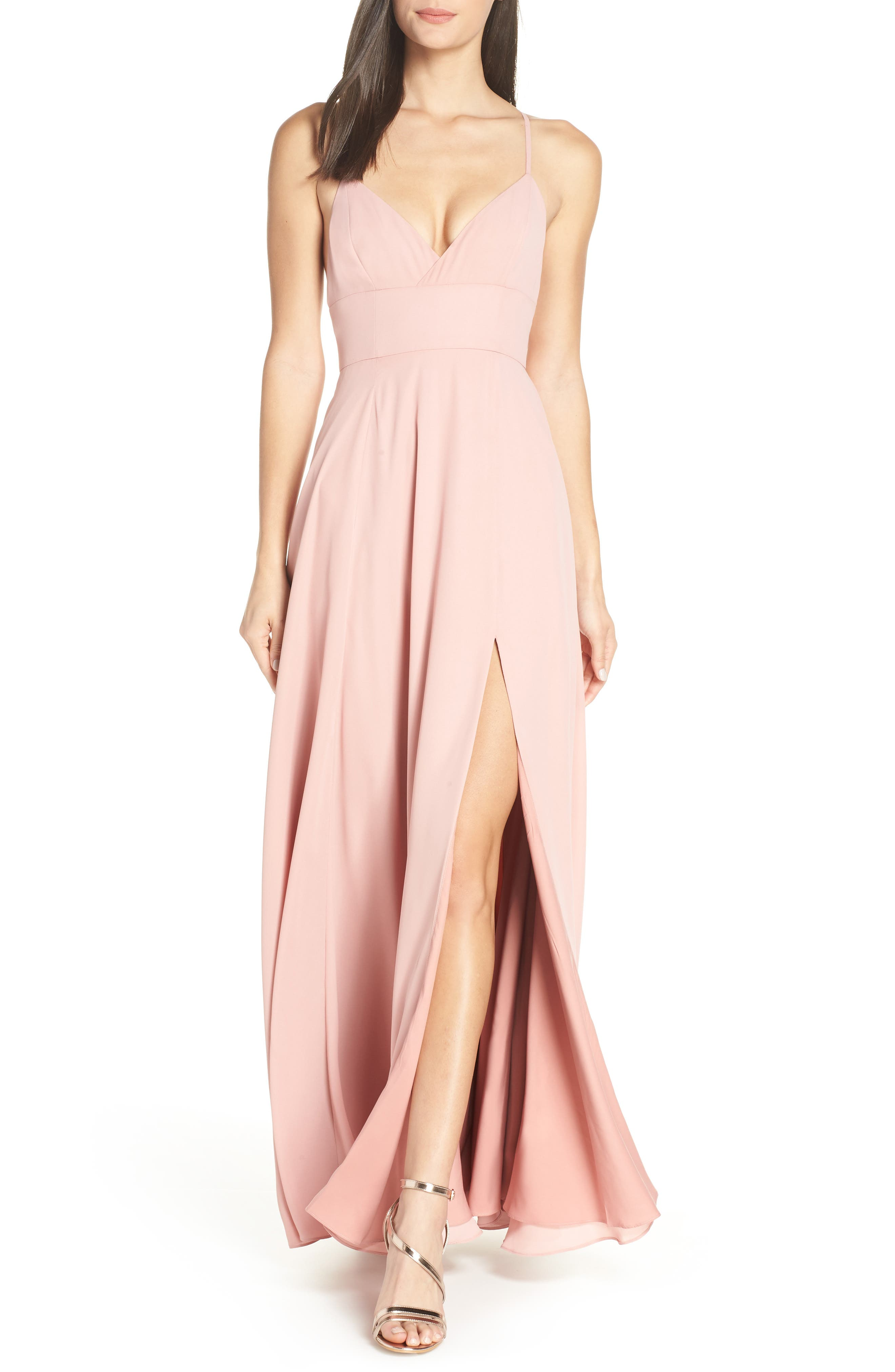 Fame And Partners Strappy Evening Dress, Pink