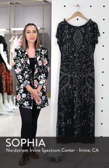 Beaded Short Sleeve Column Gown, sales video thumbnail