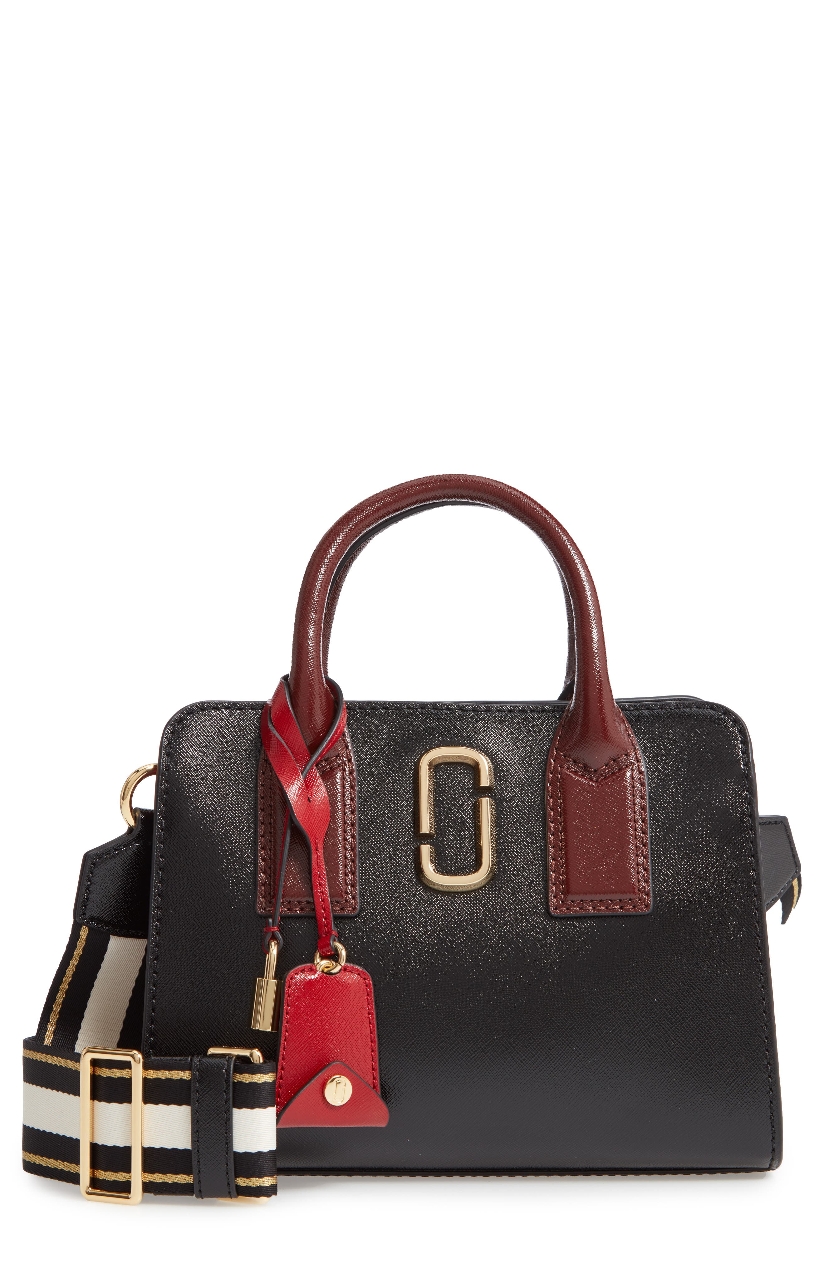 Little Big Shot Leather Tote,                         Main,                         color, BLACK/ RED