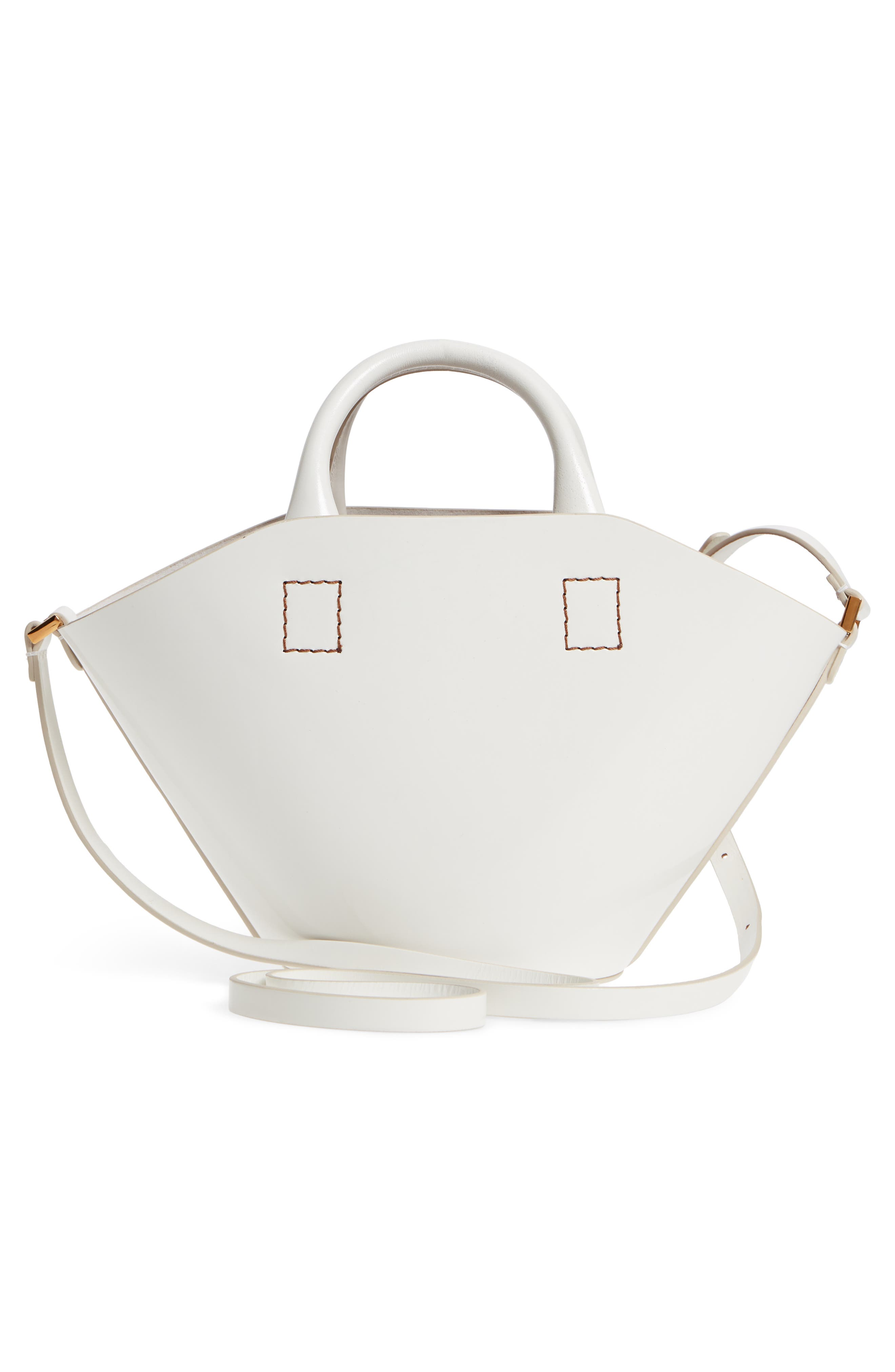 Small Leather Bucket Bag,                             Alternate thumbnail 3, color,                             WHITE