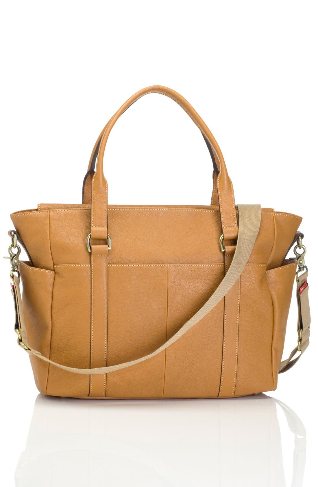 STORKSAK,                             'Emma' Leather Diaper Bag,                             Alternate thumbnail 4, color,                             TAN