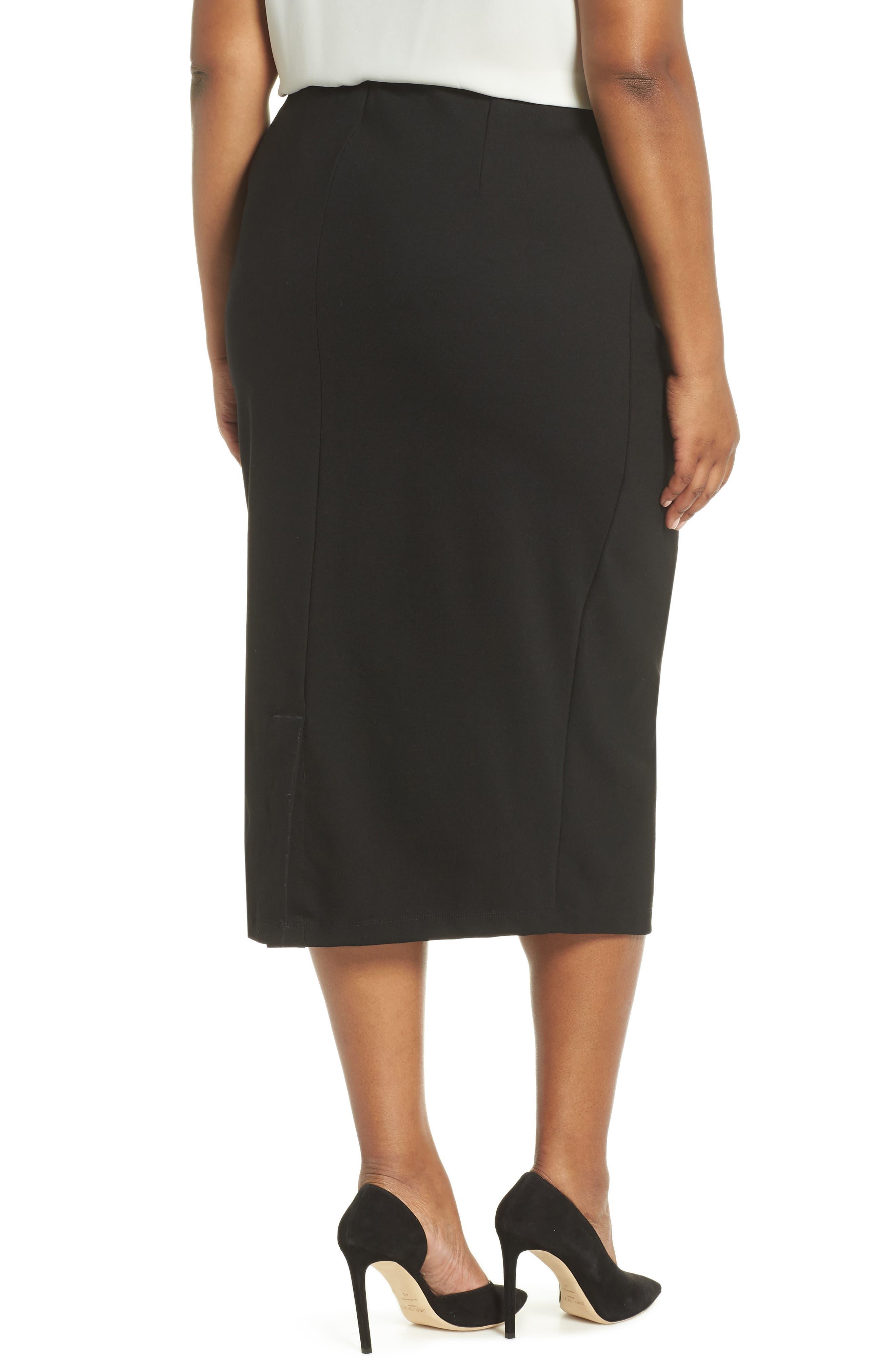 Ponte Pencil Skirt,                             Alternate thumbnail 2, color,                             BLACK