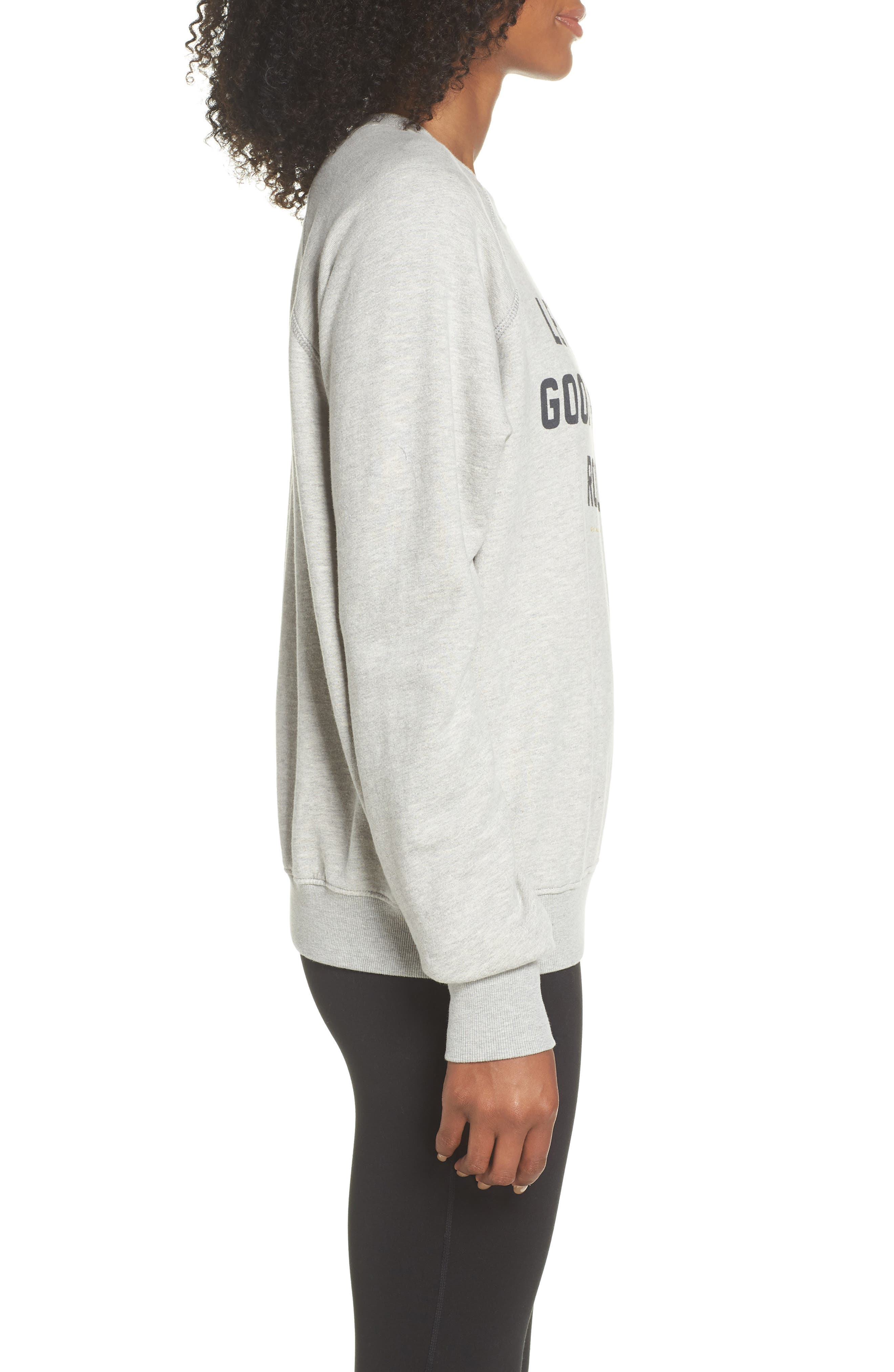 Let the Good Vibes Roll Perfect Pullover,                             Alternate thumbnail 3, color,                             HEATHER GREY