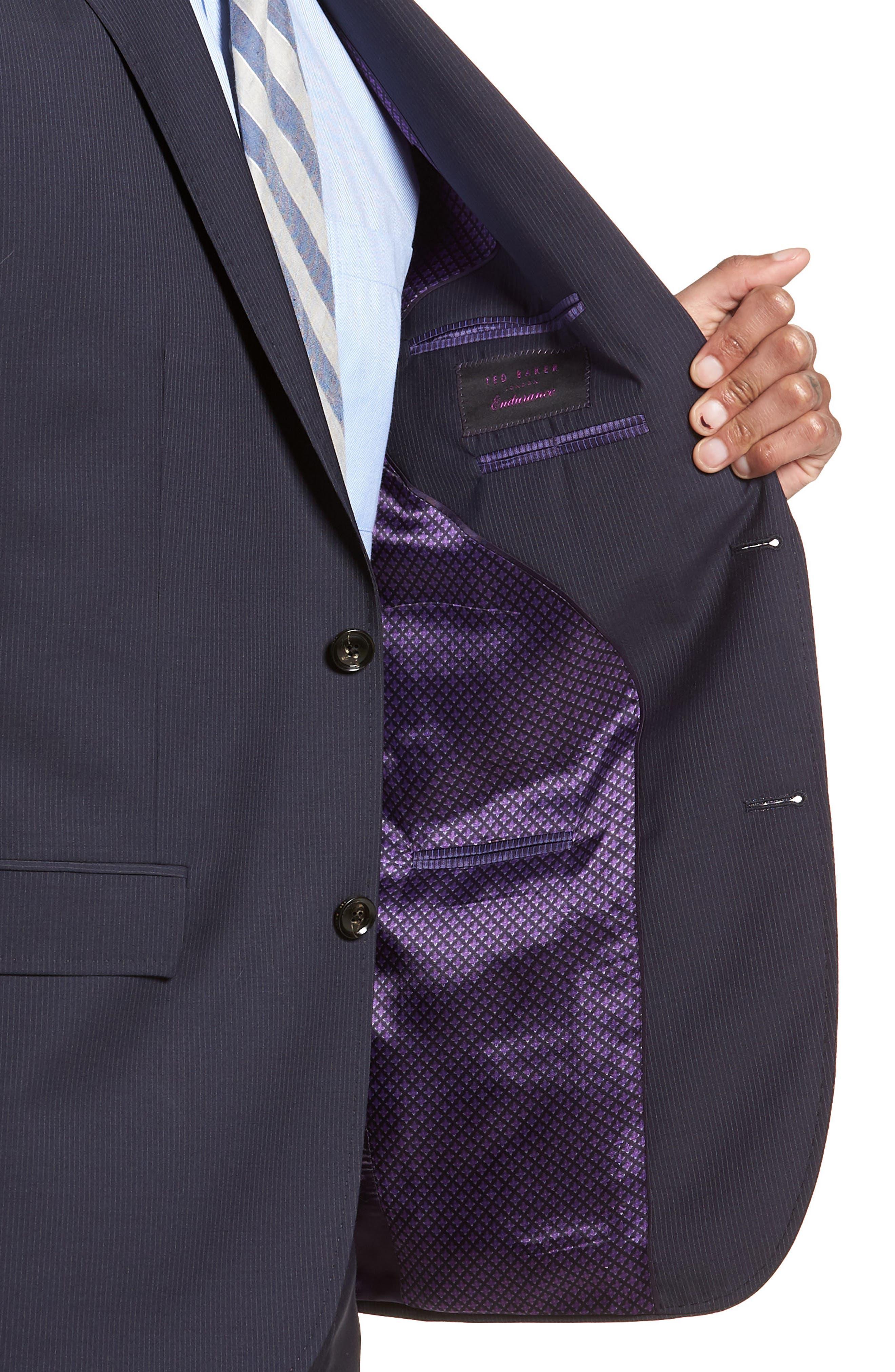 Jay Trim Fit Stripe Wool Suit,                             Alternate thumbnail 4, color,                             NAVY