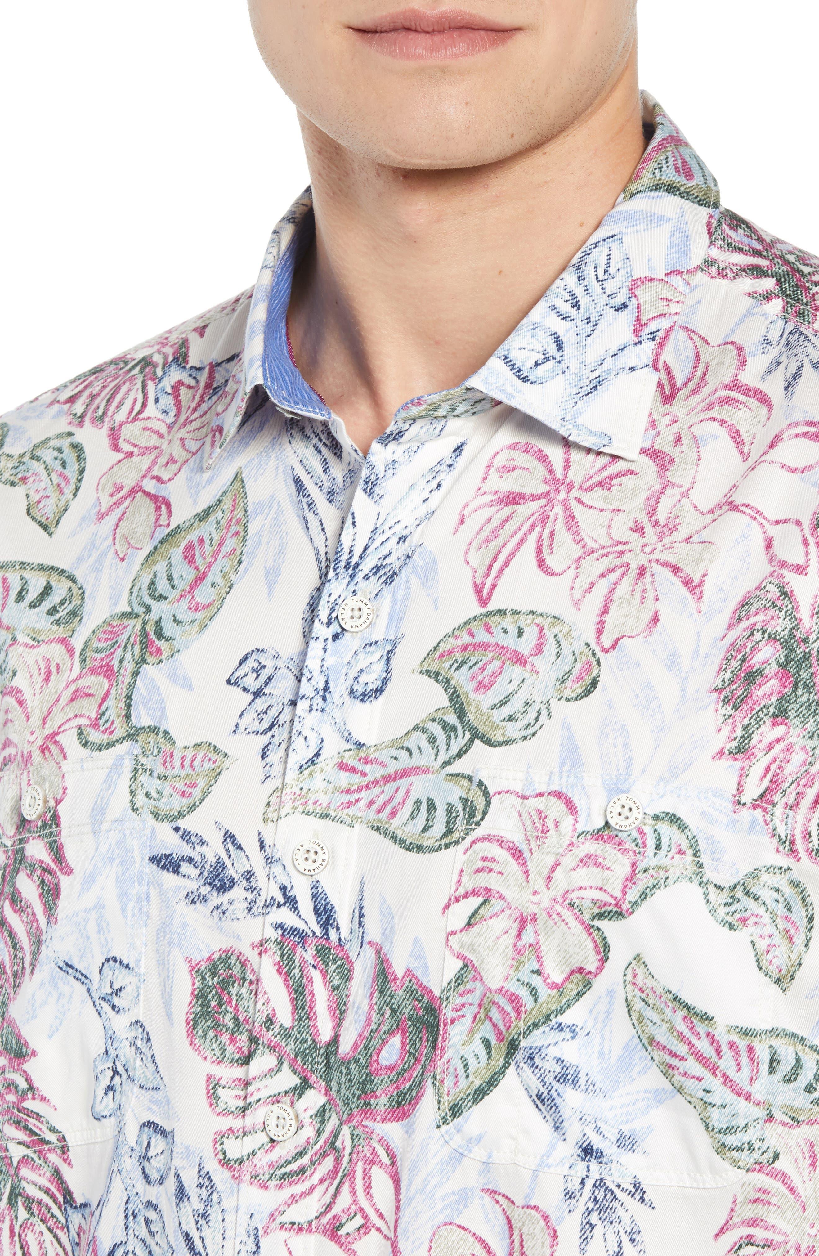 Diego Fronds Jacquard Short Shirt,                             Alternate thumbnail 4, color,                             200